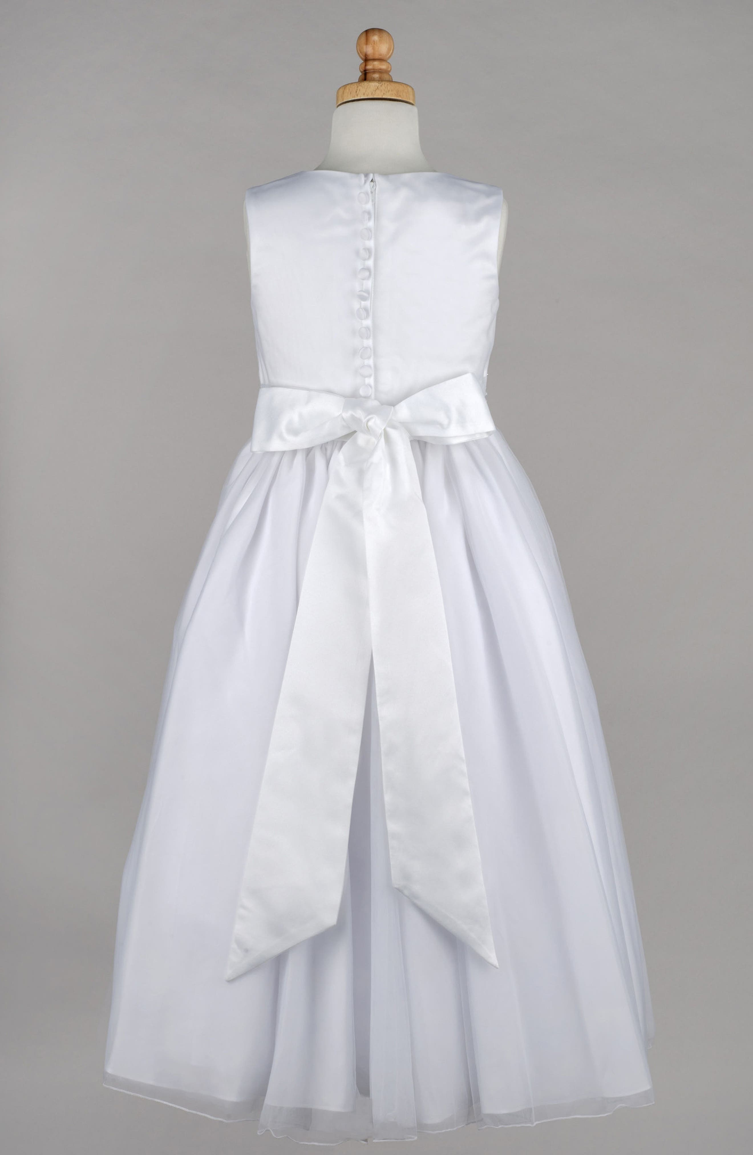 Beaded First Communion Dress,                         Main,                         color, WHITE