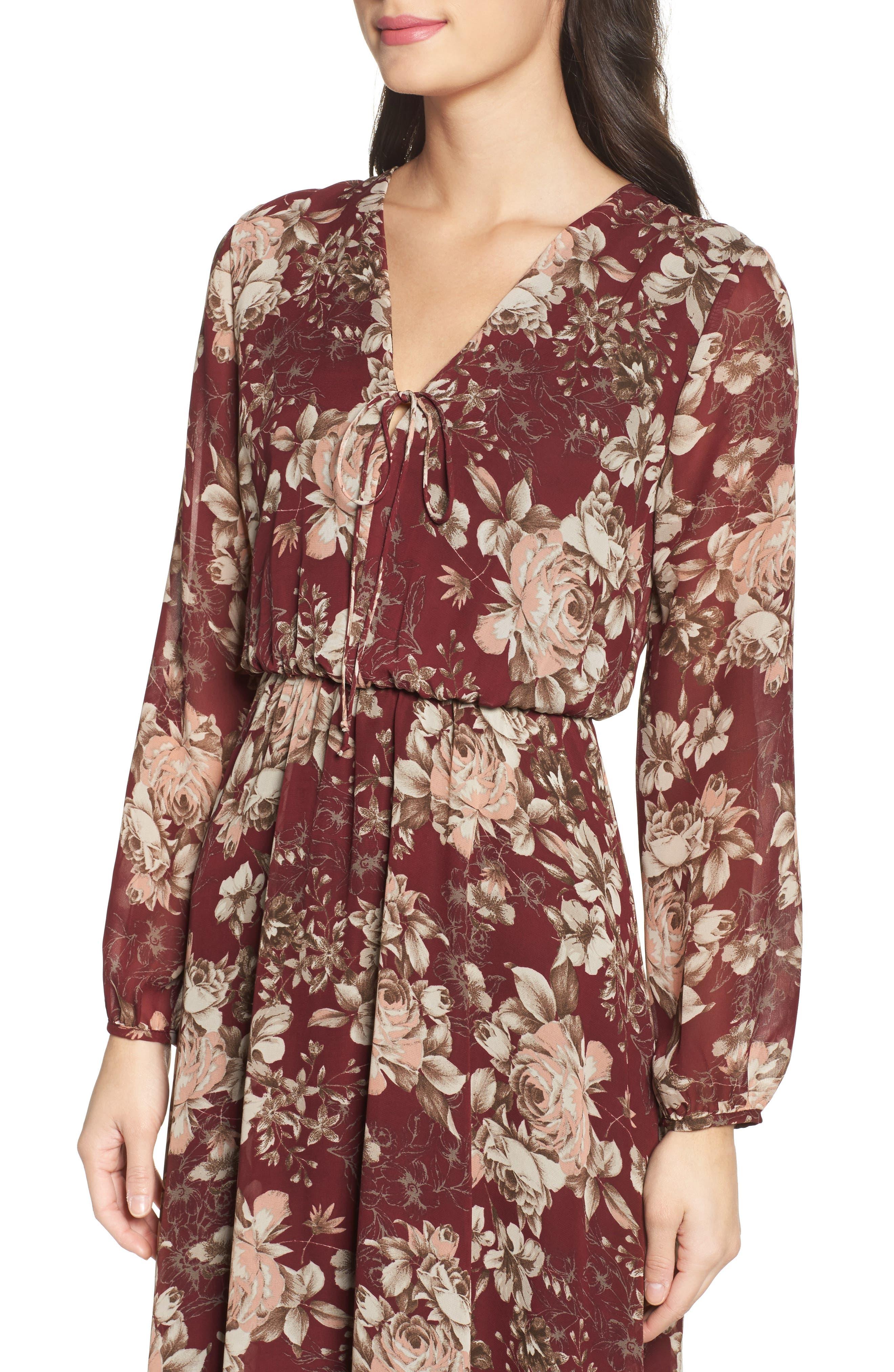 Blouson Midi Dress,                             Alternate thumbnail 4, color,