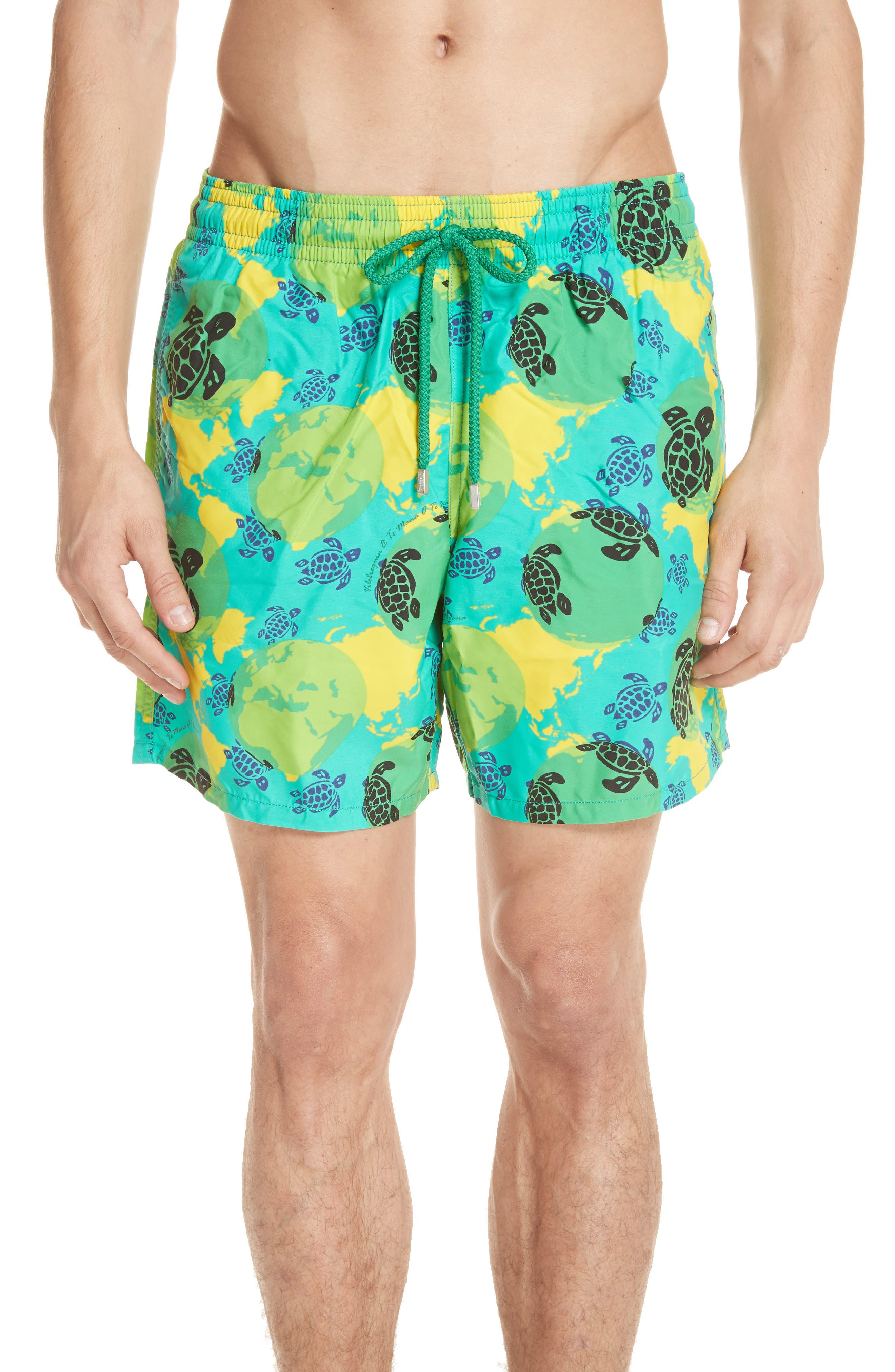 Eco Turtle Print Swim Trunks,                         Main,                         color, VERONESE GREEN