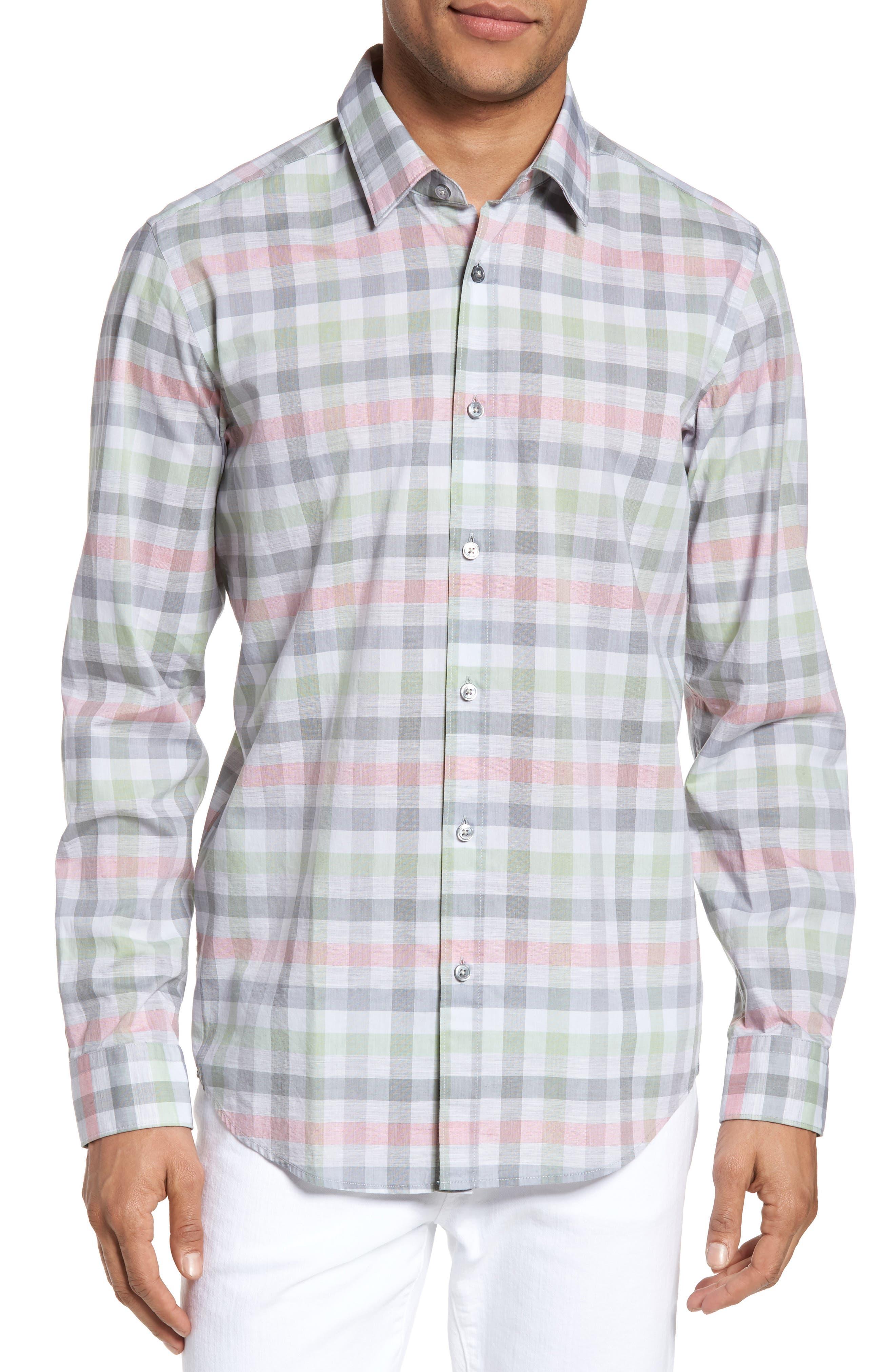BOSS,                             Lukas Regular Fit Plaid Sport Shirt,                             Main thumbnail 1, color,                             302