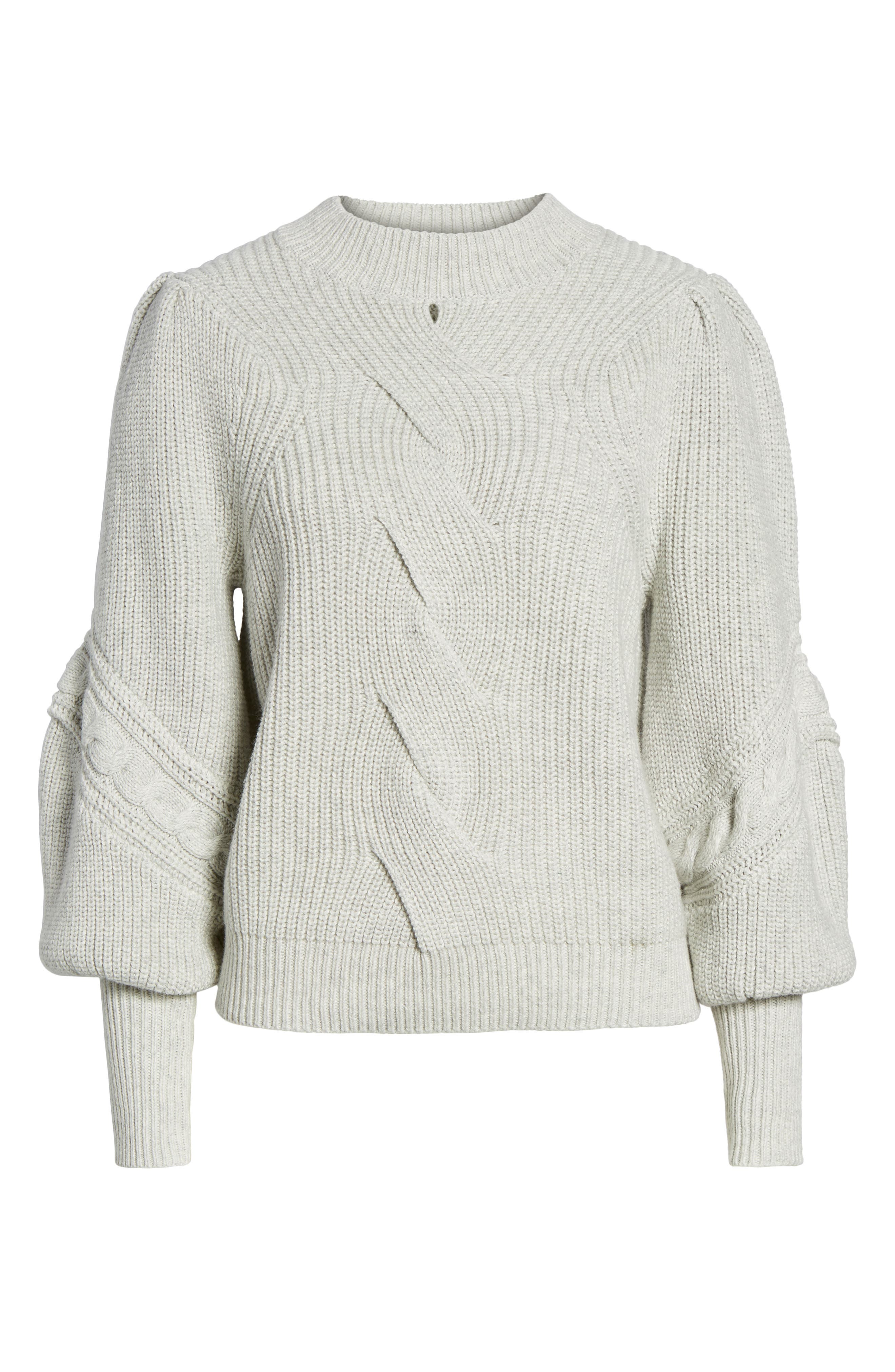 Cable Knit Puff Sleeve Sweater,                             Alternate thumbnail 6, color,                             050