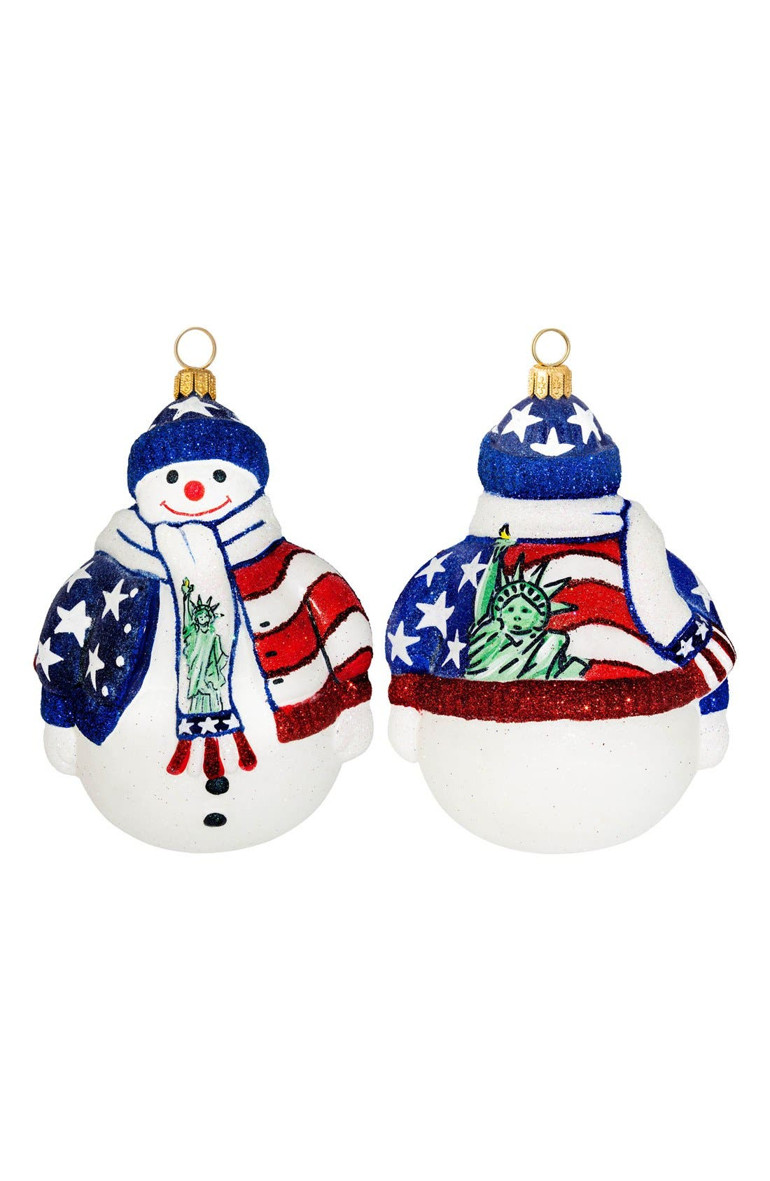 'Land of the Free' Snowman Ornament,                             Main thumbnail 1, color,                             RED/ WHITE/ BLUE