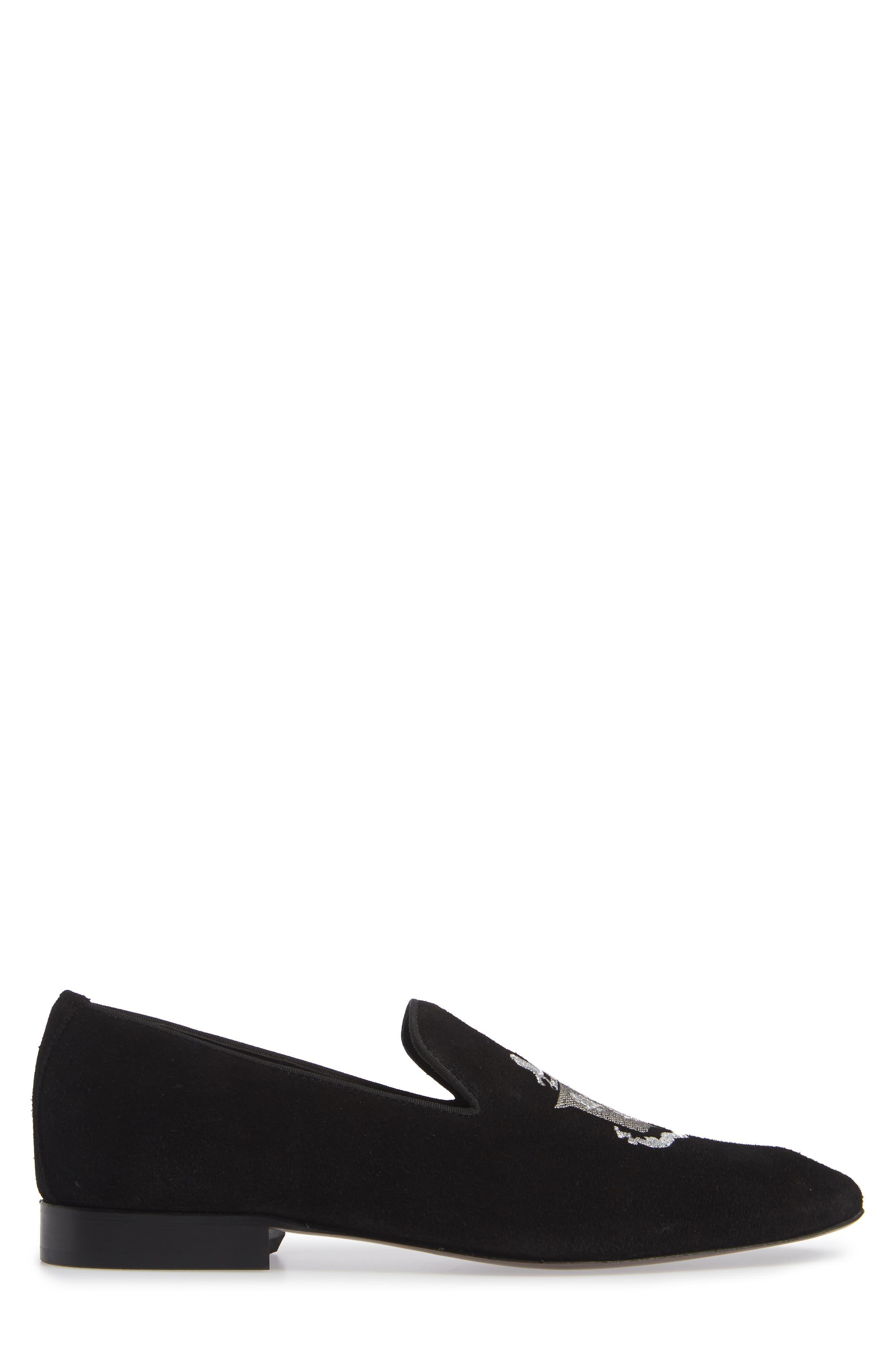 Altos Embroidered Venetian Loafer,                             Alternate thumbnail 3, color,                             BLACK SUEDE