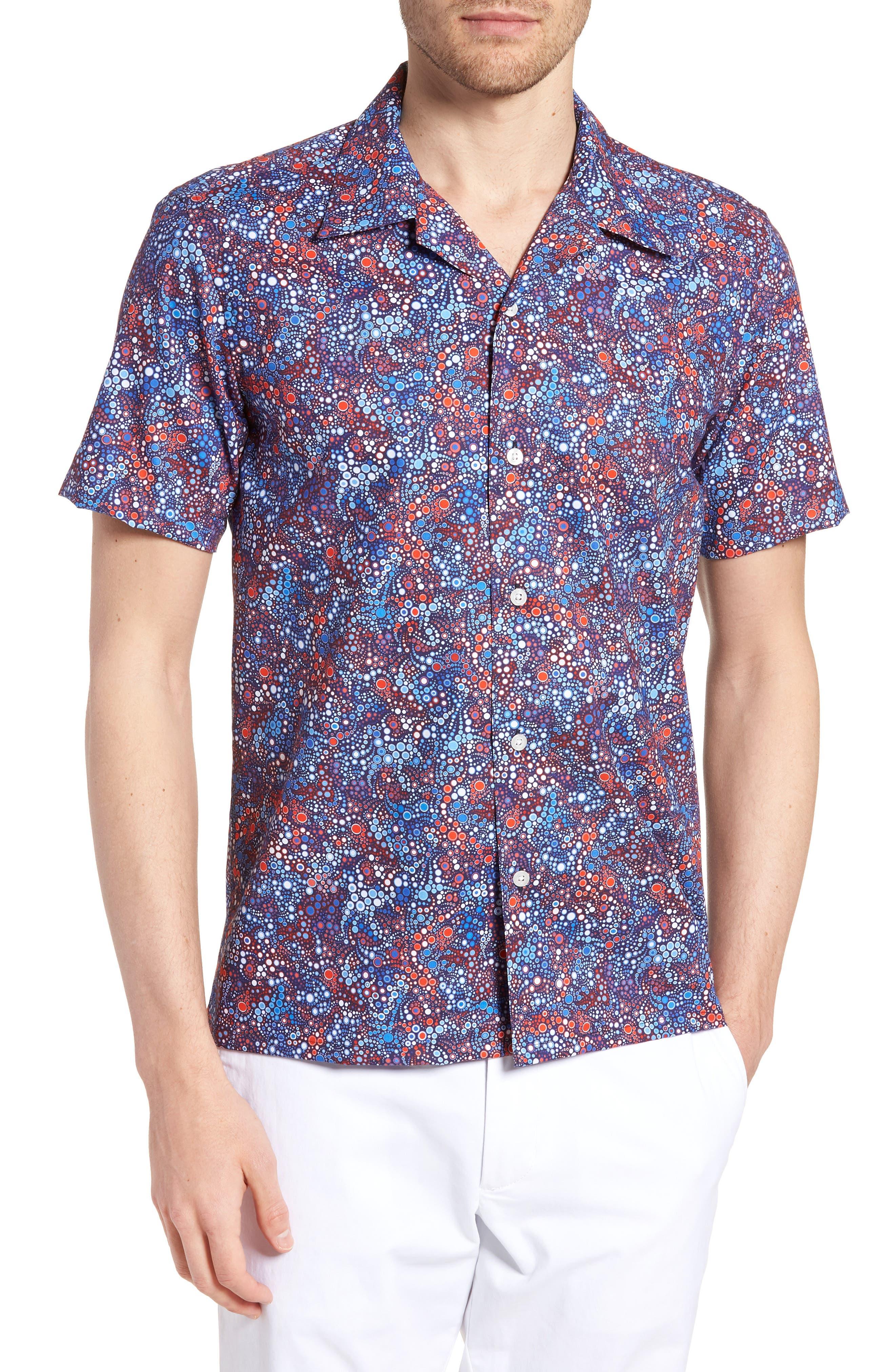 Sanibel Novelty Trim Fit Sport Shirt,                         Main,                         color, BLUE