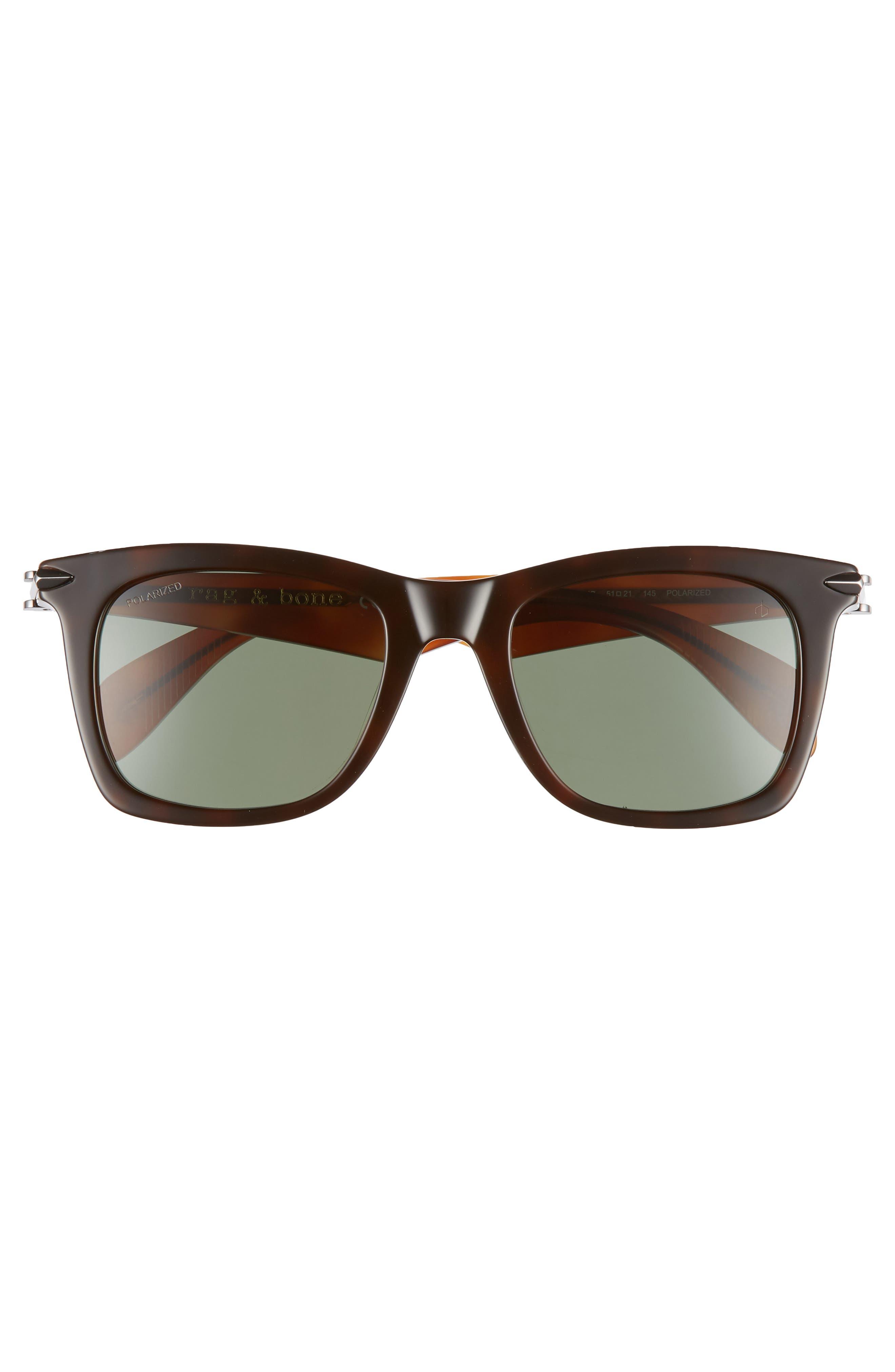 Core 51mm Polarized Sunglasses,                             Alternate thumbnail 3, color,                             DARK/ HAVANA