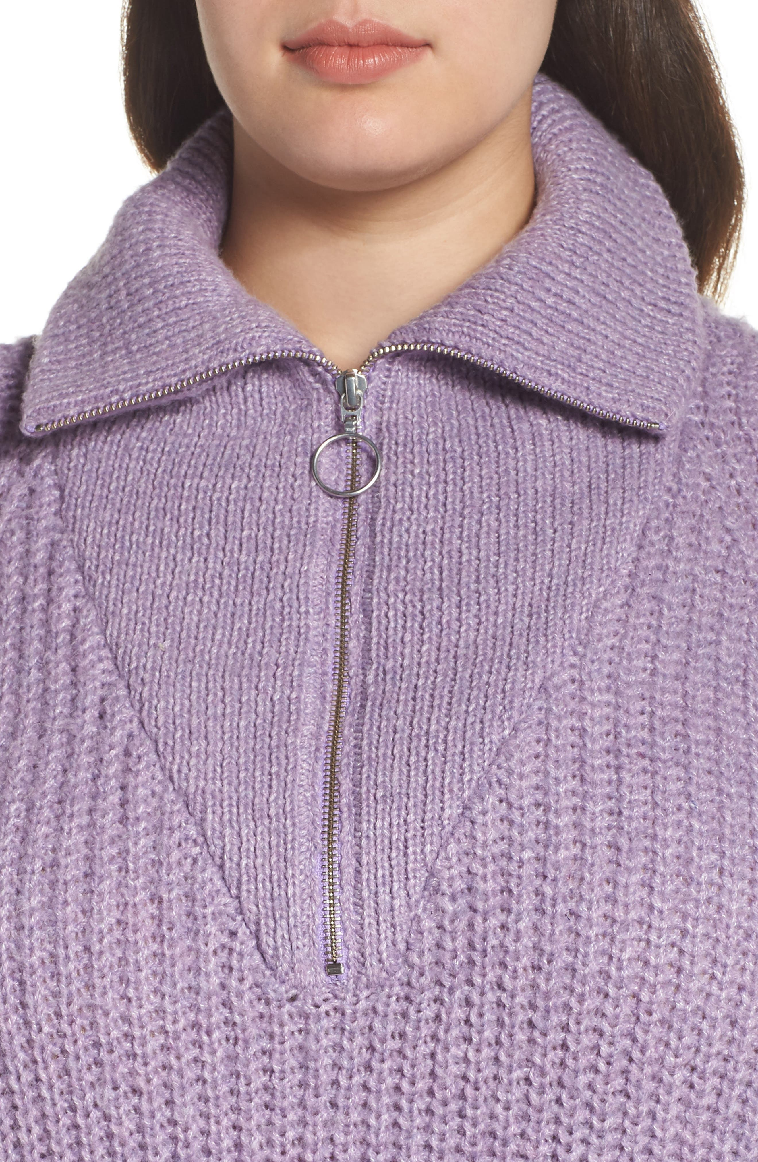BP.,                             Quarter Zip Sweater,                             Alternate thumbnail 4, color,                             PURPLE WAVE
