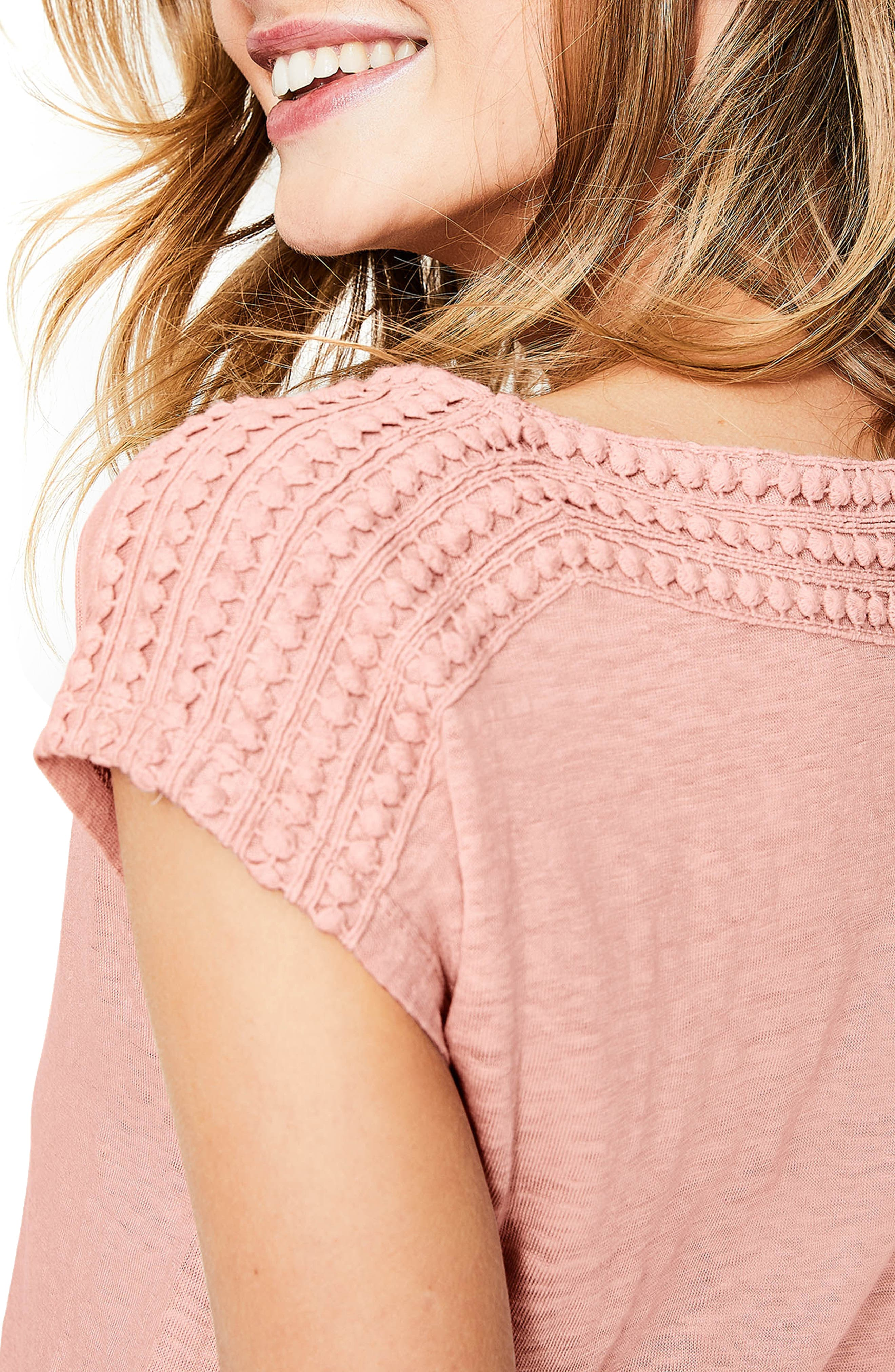 Embroidered Neck Linen Top,                             Alternate thumbnail 4, color,