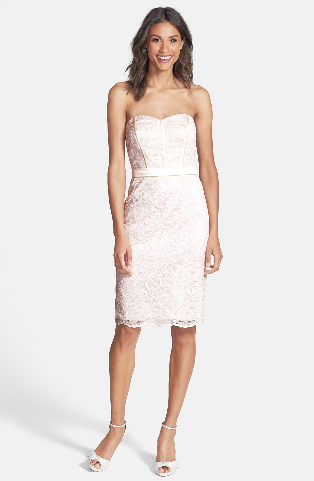Strapless Lace Overlay Matte Satin Dress,                             Alternate thumbnail 6, color,