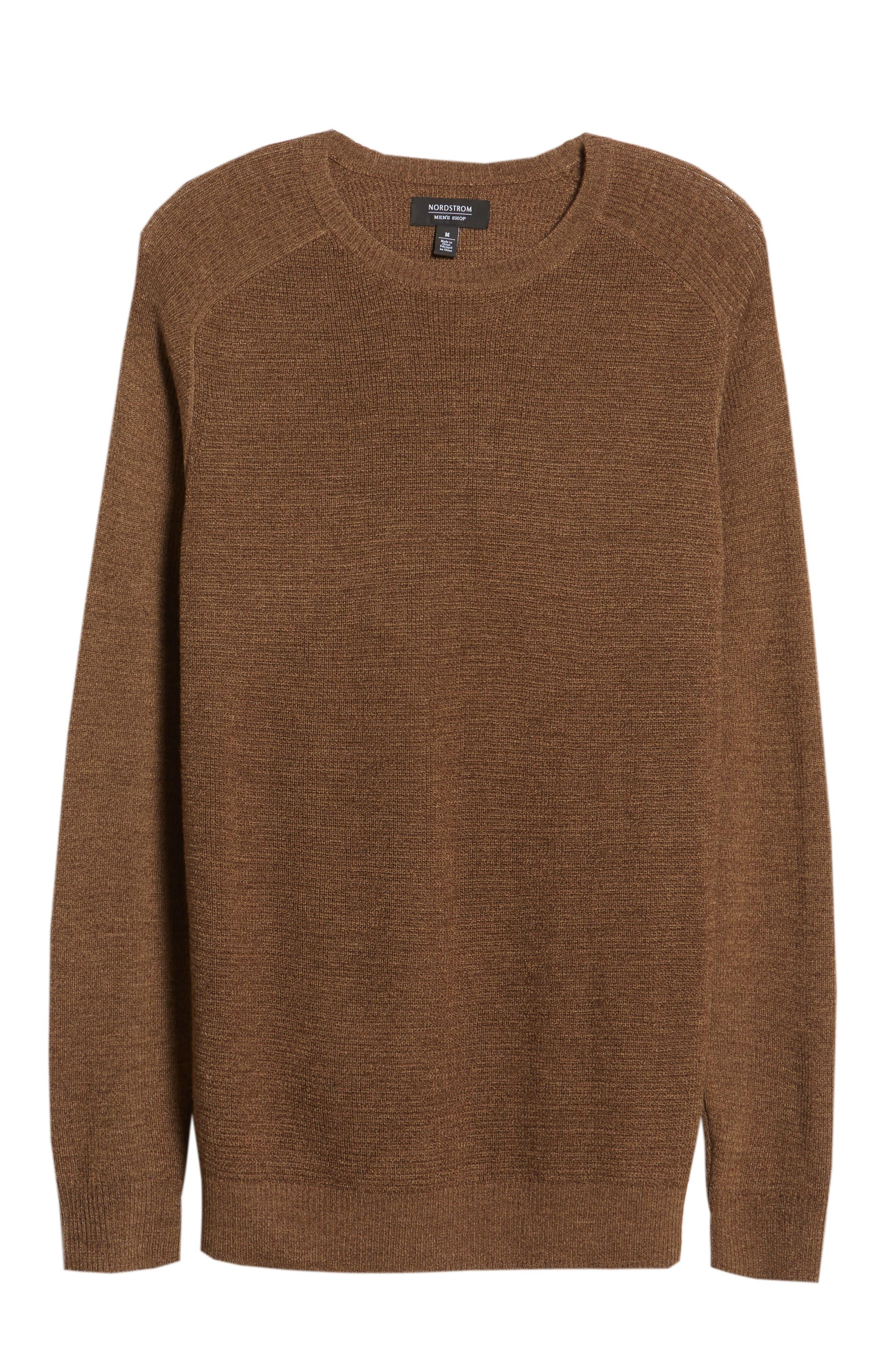 Crewneck Wool Blend Sweater,                             Alternate thumbnail 6, color,                             BROWN MAJOR