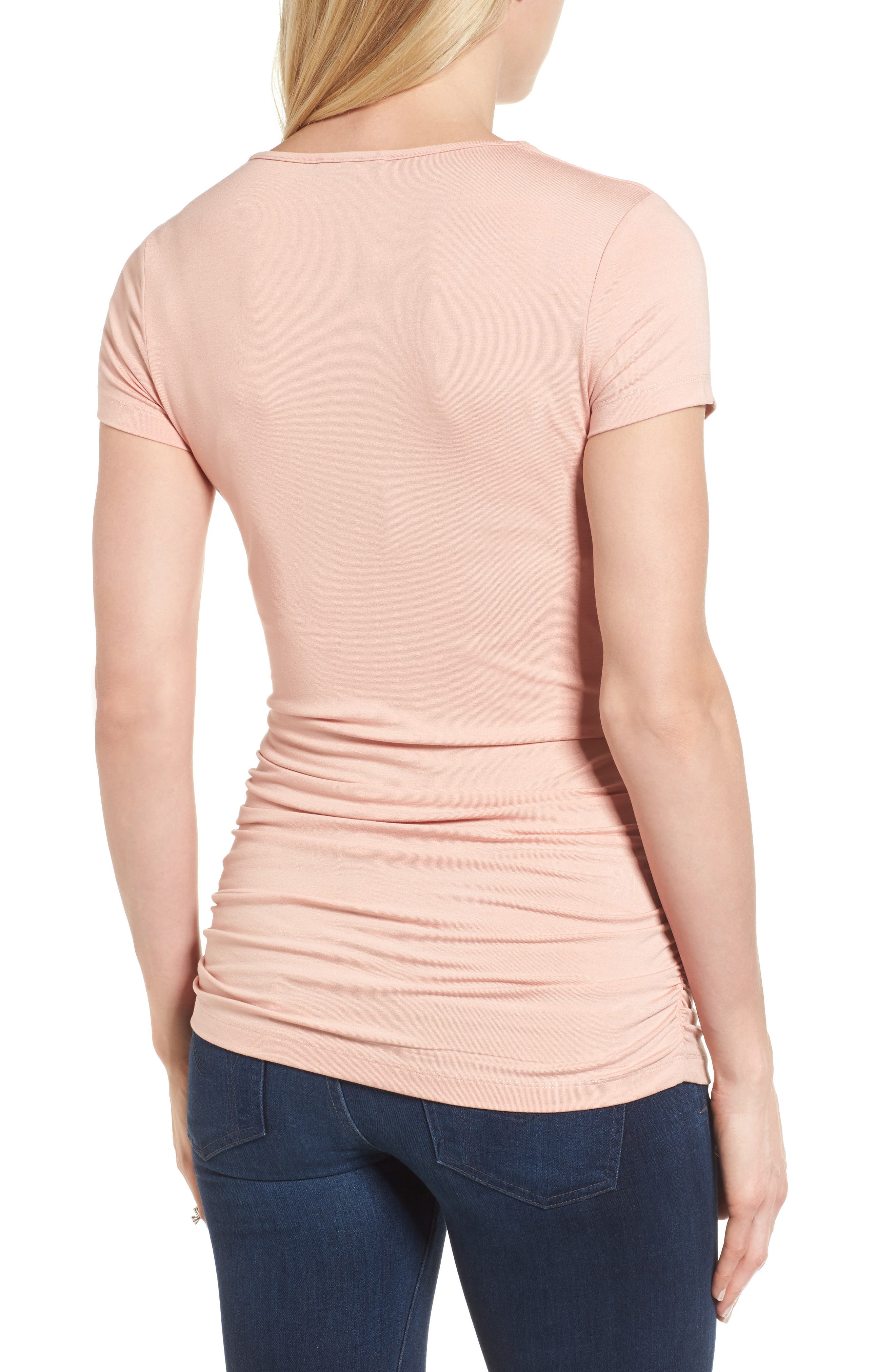Scoop Neck Maternity Tee,                             Alternate thumbnail 2, color,                             QUARTZ PINK