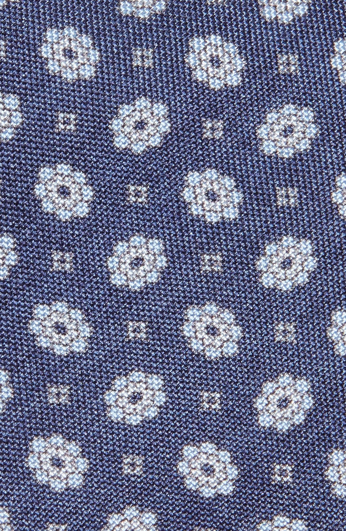 Floral Medallion Skinny Silk Tie,                             Alternate thumbnail 2, color,                             DENIM BLUE
