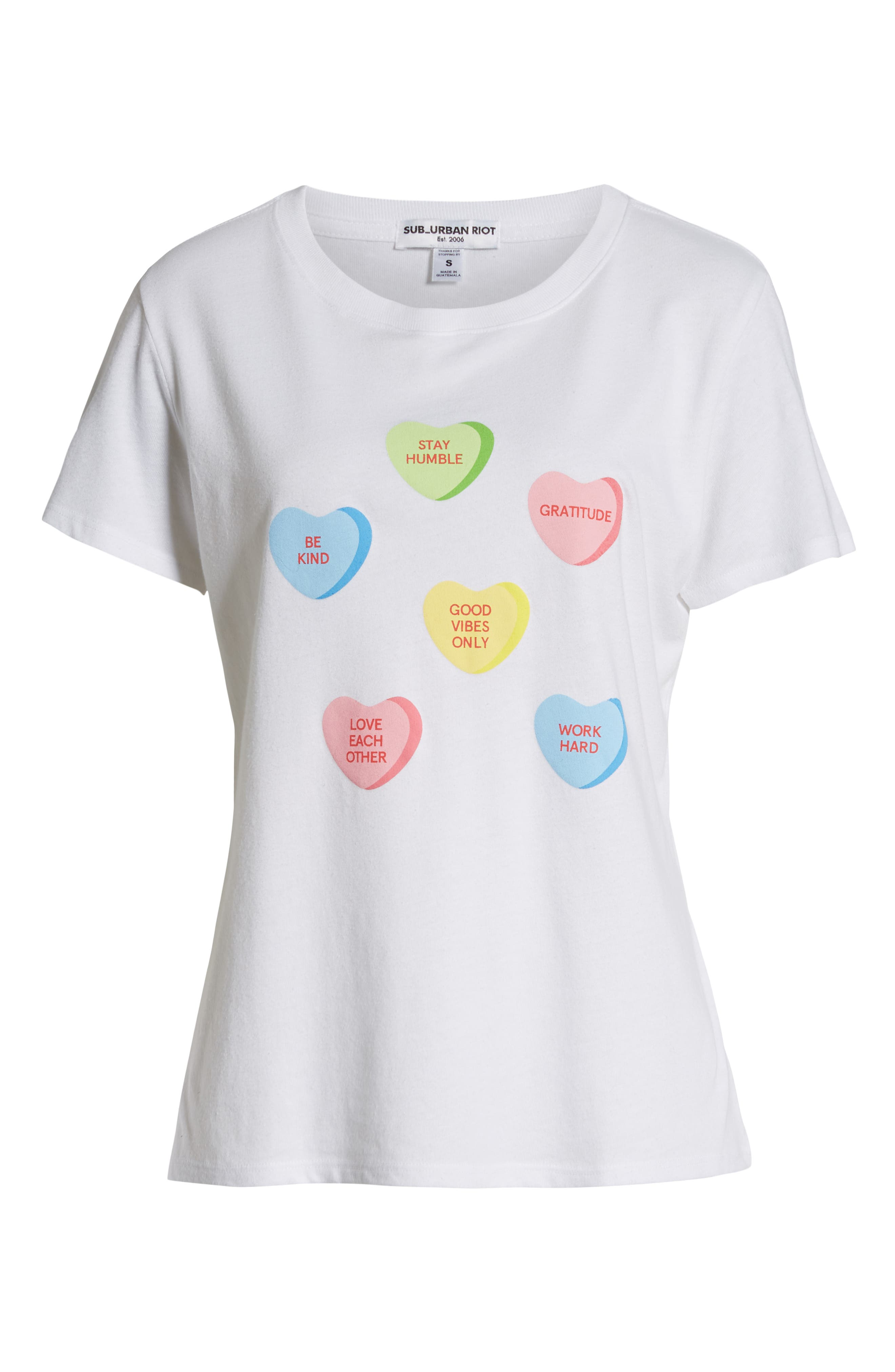 SUB_URBAN RIOT,                             Candy Hearts Slouch Tee,                             Alternate thumbnail 6, color,                             100