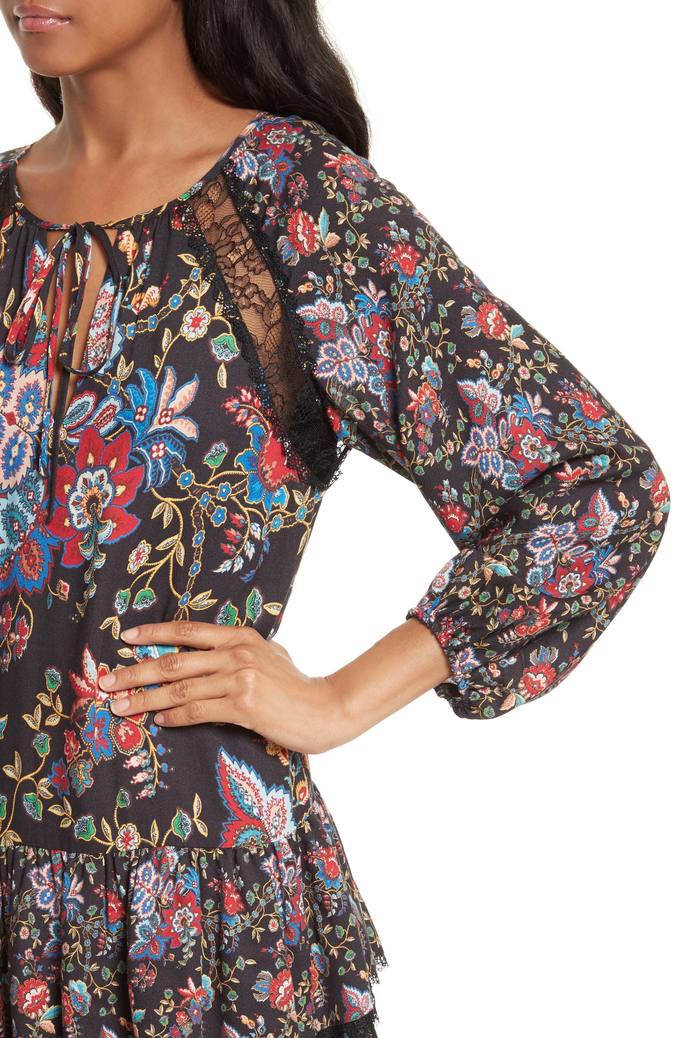 Lakita Tiered Tunic Dress,                             Alternate thumbnail 4, color,                             006