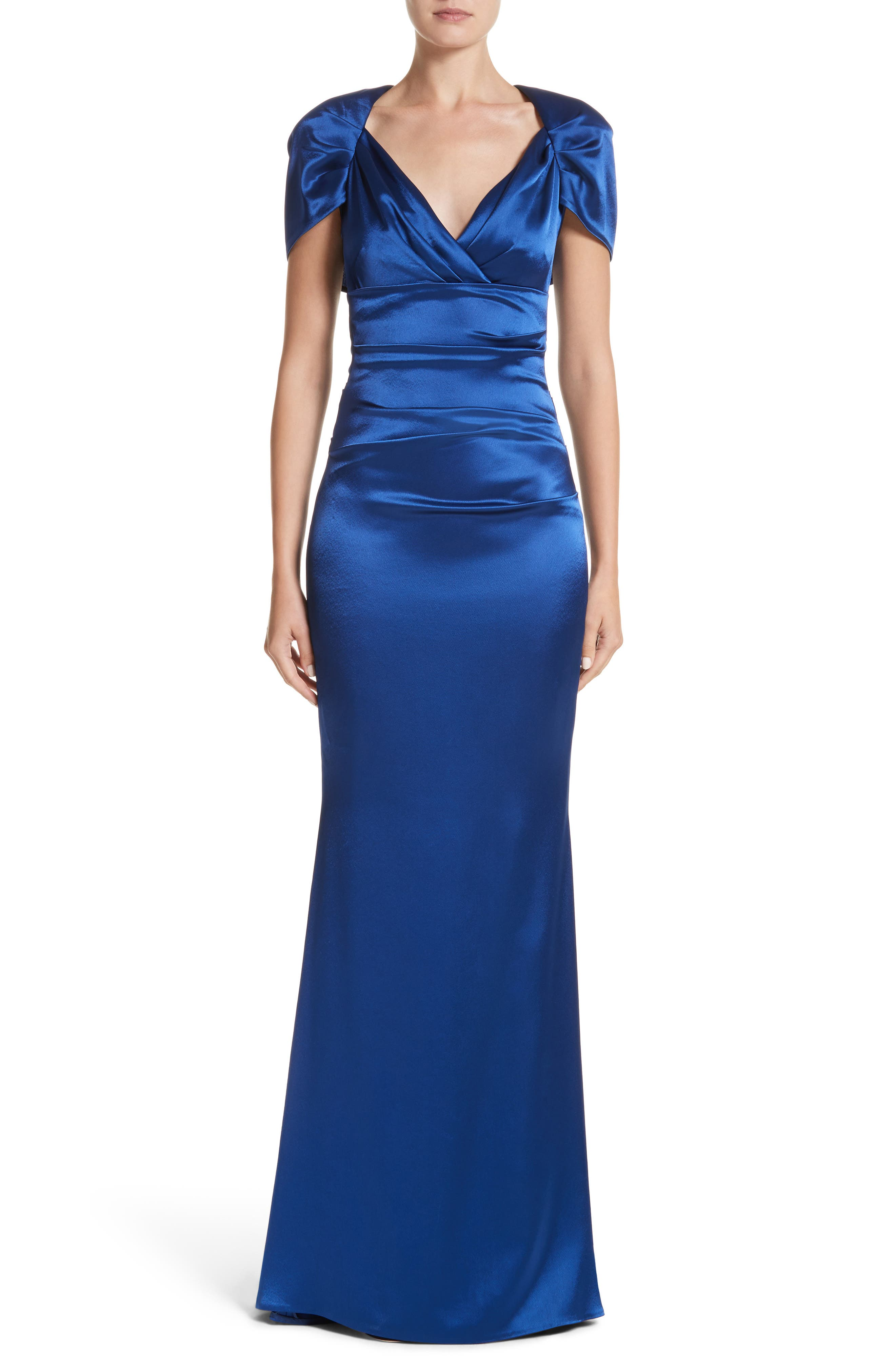 Pleated Satin Mermaid Gown,                             Main thumbnail 1, color,                             ENZIAN/ ROYAL