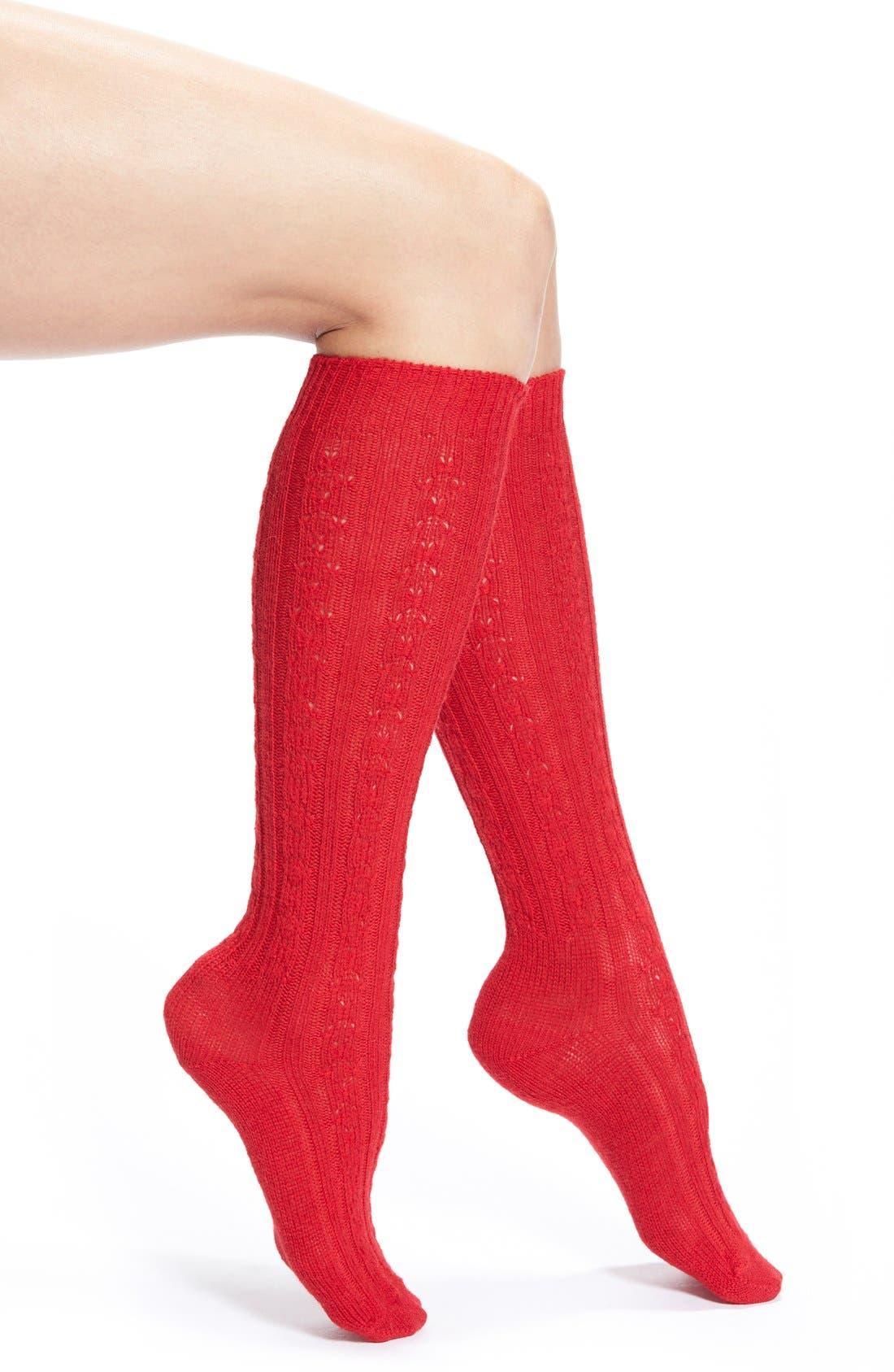 Cable Knit Knee Socks,                             Main thumbnail 4, color,