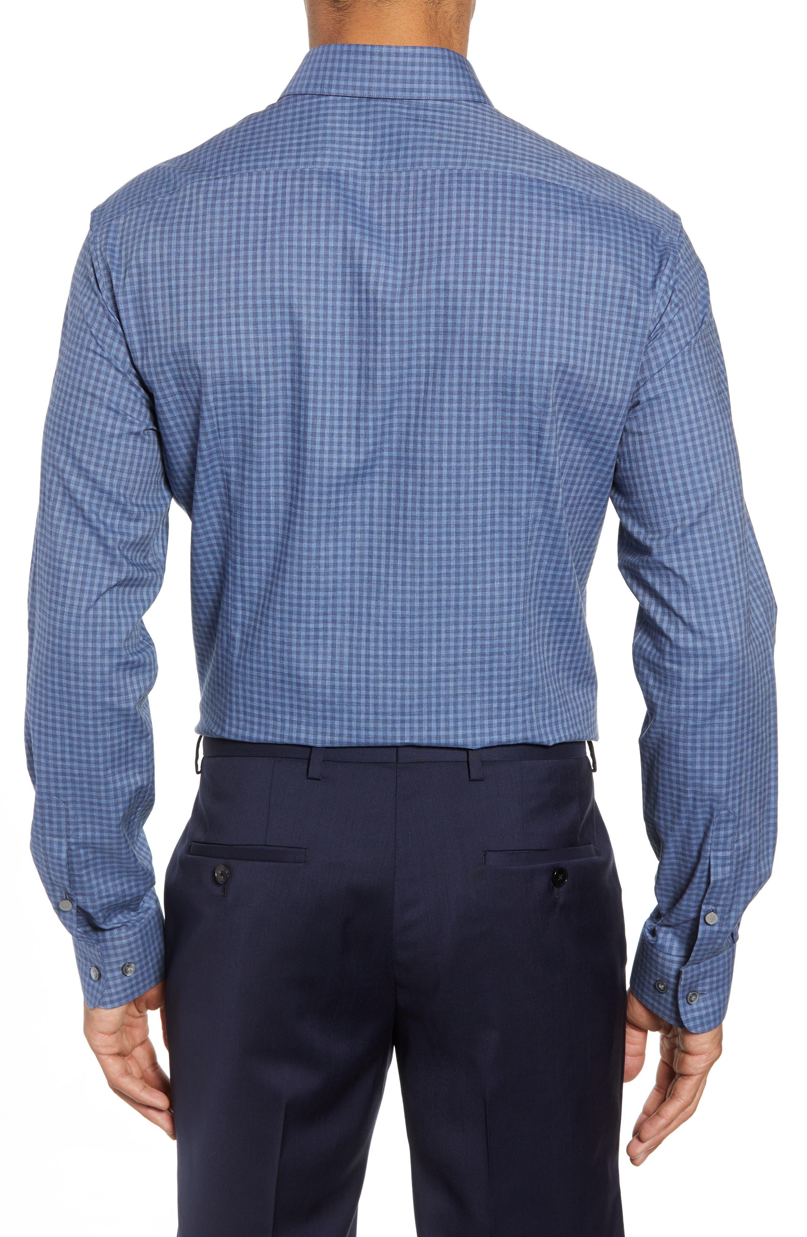 Slim Fit Check Dress Shirt,                             Alternate thumbnail 3, color,                             BLUE HEATHER