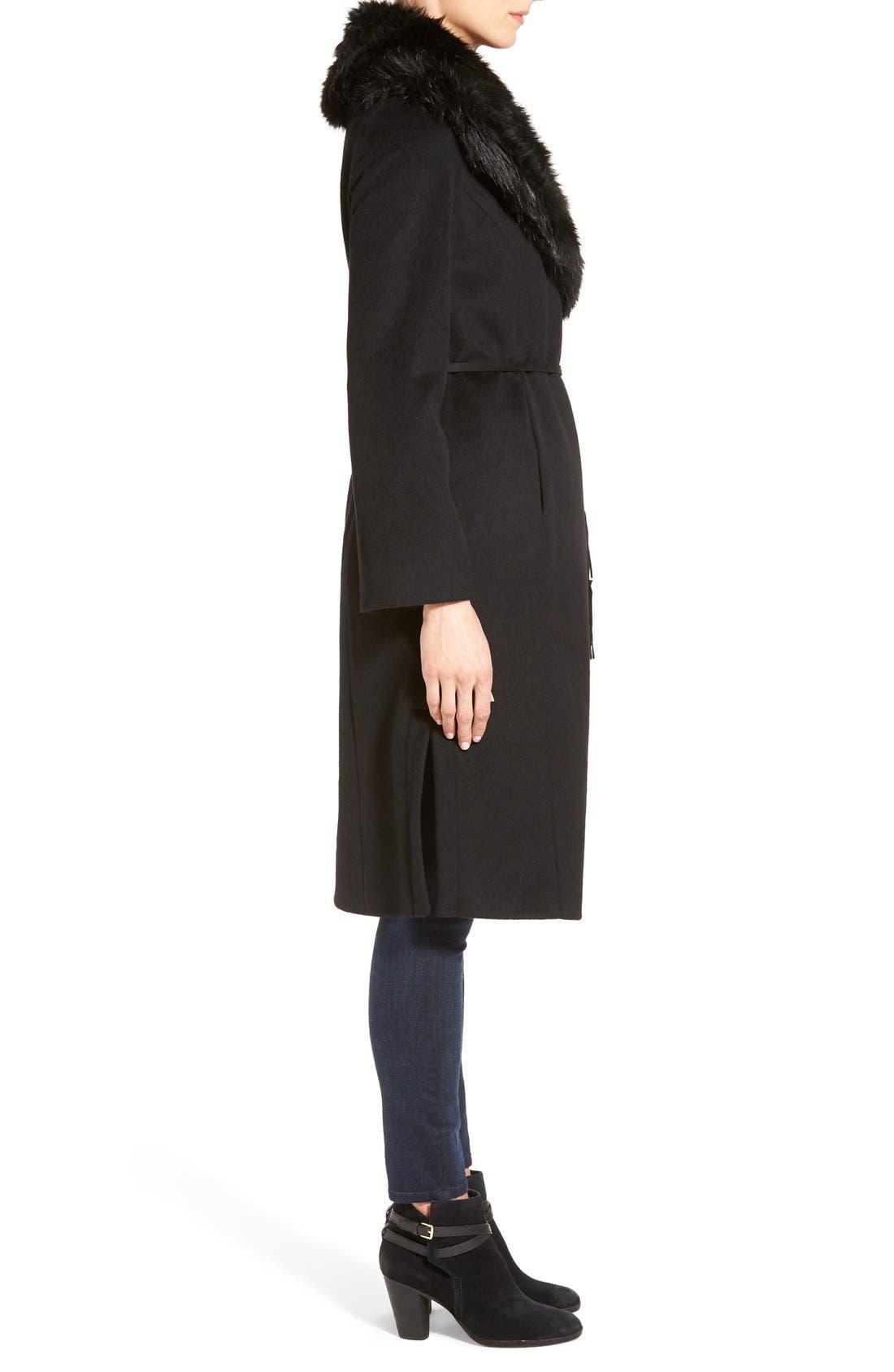 Faux Fur Shawl Collar Wool Blend Wrap Coat,                             Alternate thumbnail 3, color,