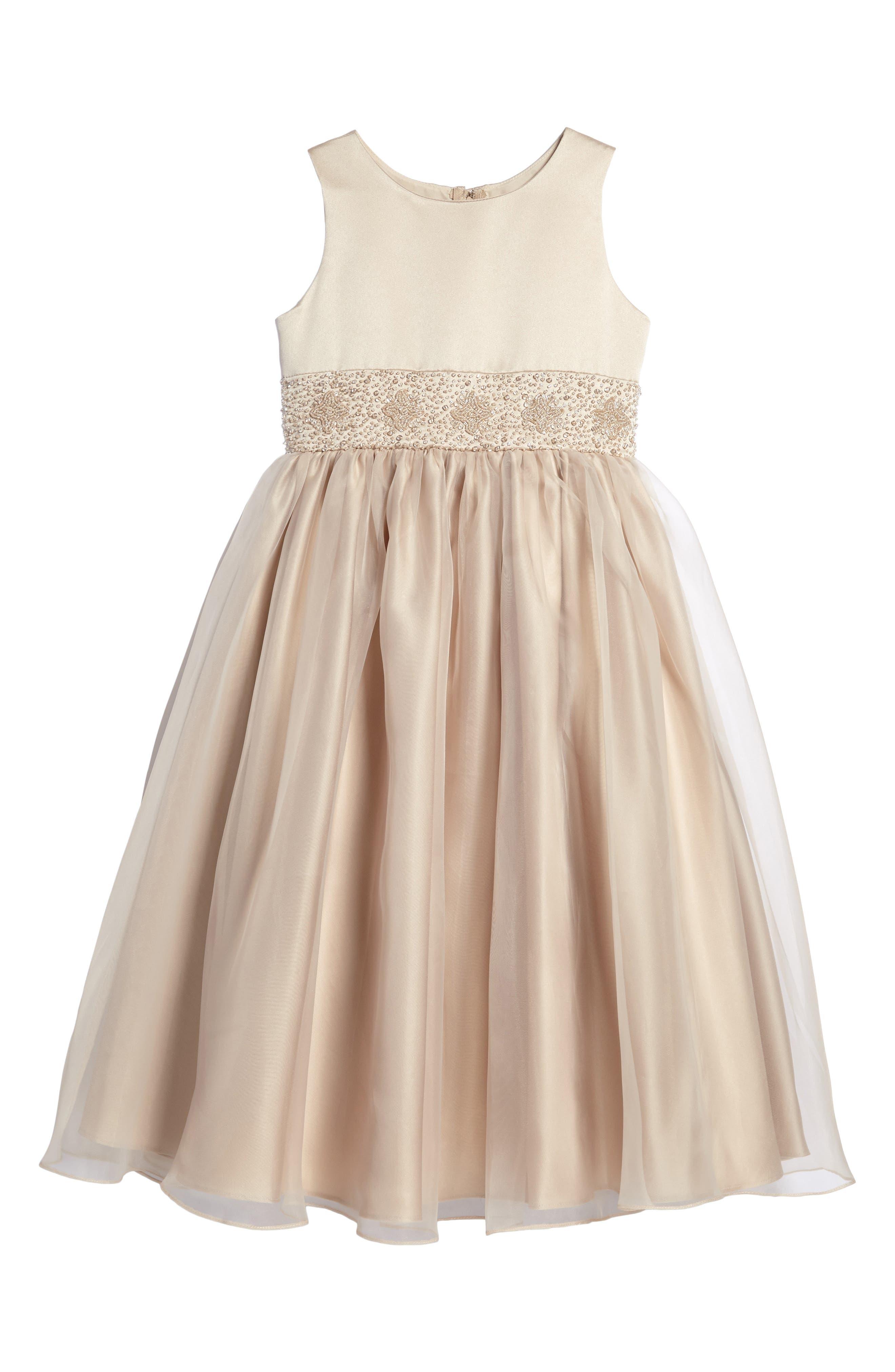 Beaded Satin Sleeveless Dress,                             Main thumbnail 1, color,                             CHAMPAGNE
