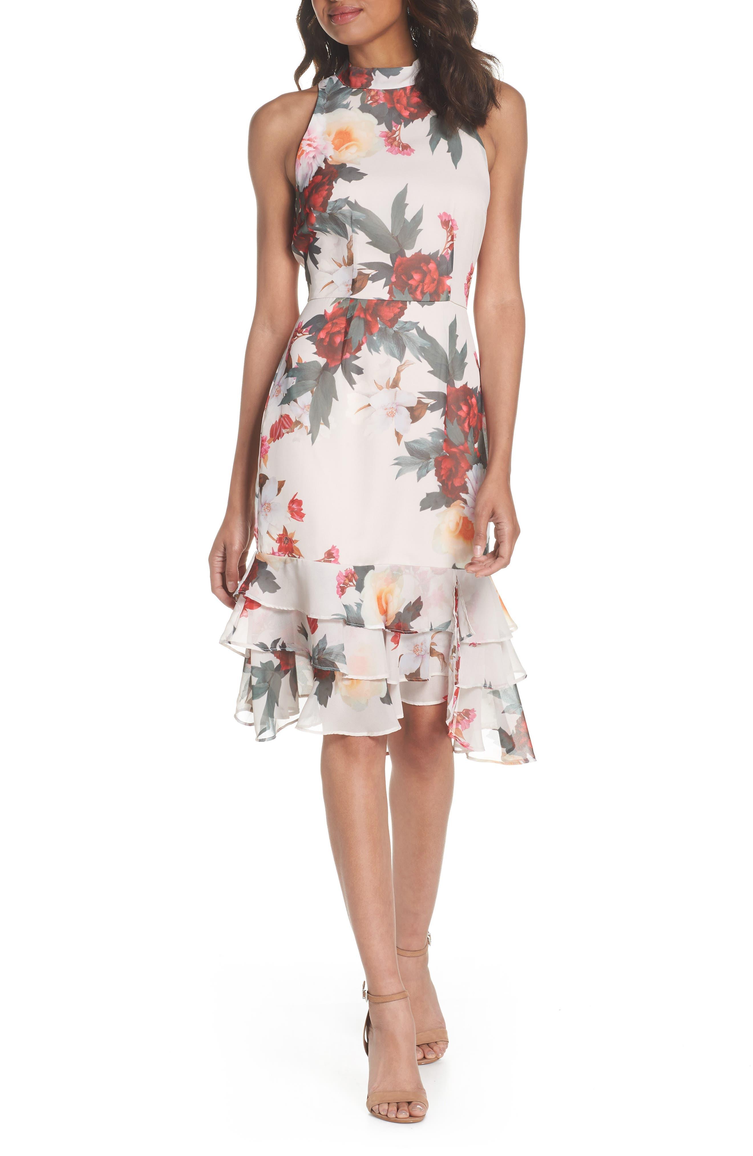 Rosa High Neck Ruffle Hem Dress,                             Alternate thumbnail 6, color,                             266
