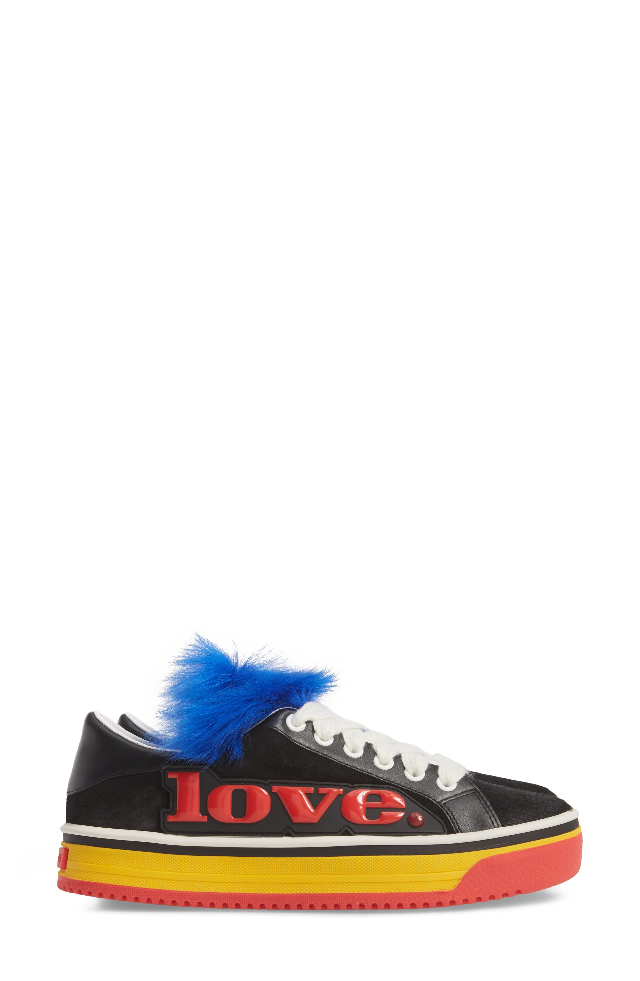 Empire Love Genuine Shearling & Calf Hair Trim Sneaker,                             Alternate thumbnail 4, color,                             BLACK MULTI