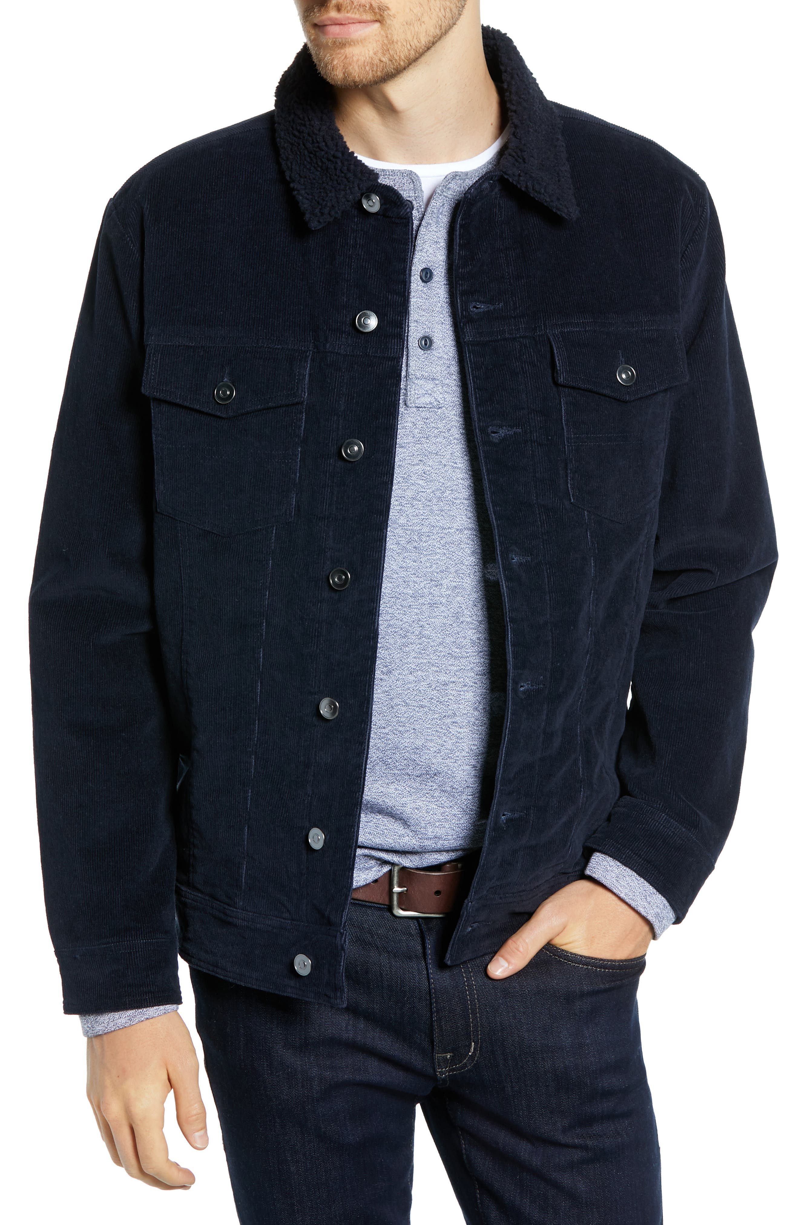 Regular Fit Faux Shearling Trim Corduroy Trucker Jacket,                         Main,                         color, NAVY NIGHT