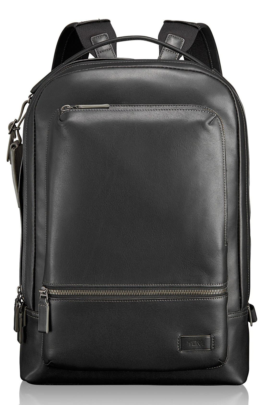 'Harrison - Bates' Leather Backpack,                             Main thumbnail 1, color,                             001