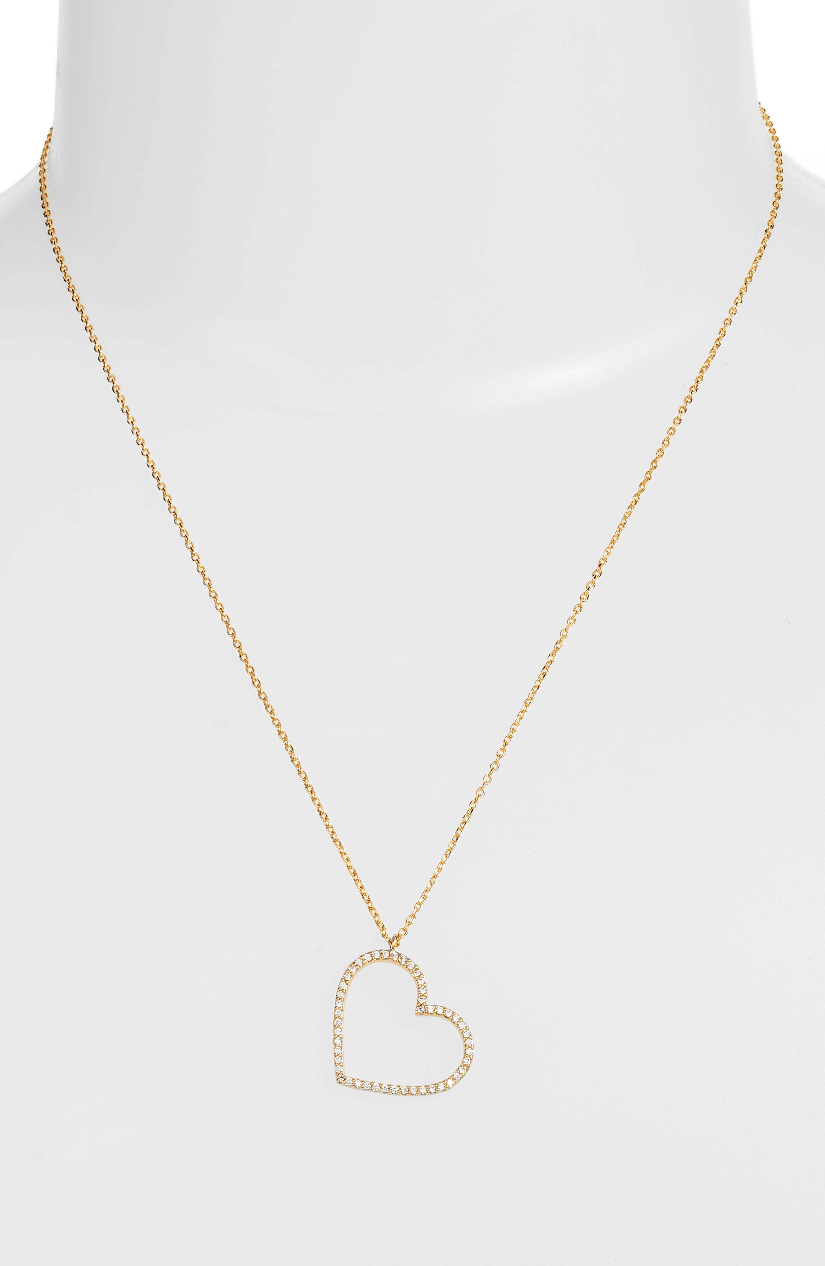 Cubic Zirconia Heart Necklace,                             Alternate thumbnail 2, color,                             GOLD