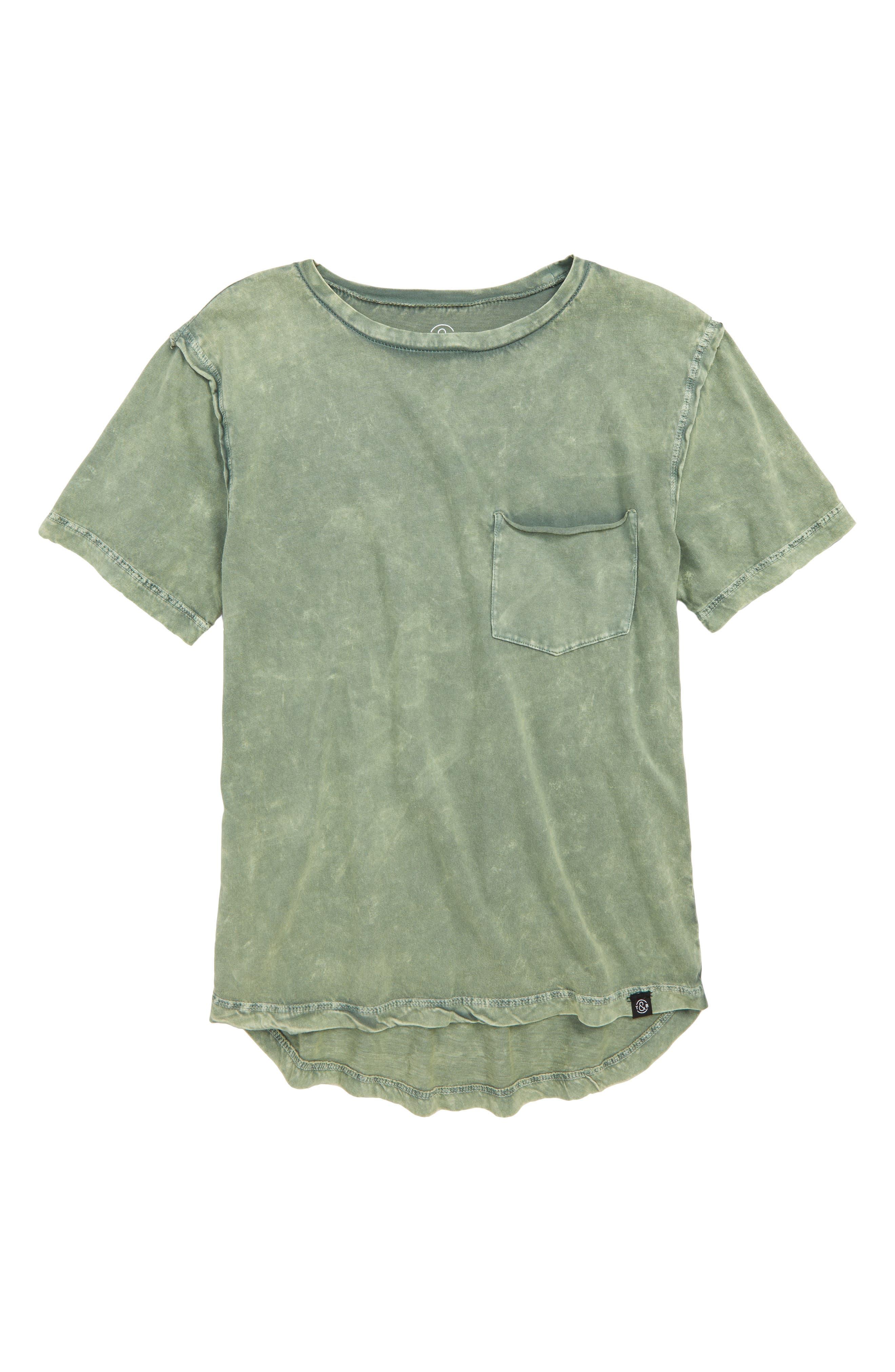 Washed Pocket T-Shirt,                         Main,                         color, GREEN AGAVE