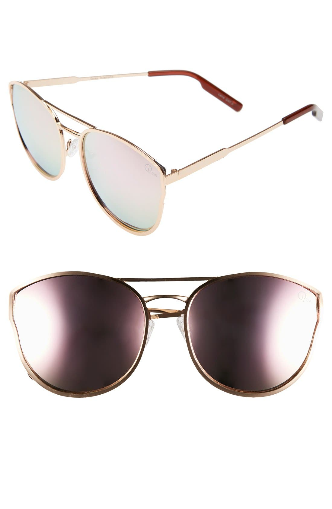 Cherry Bomb 60mm Sunglasses,                         Main,                         color, ROSE GOLD/ PINK