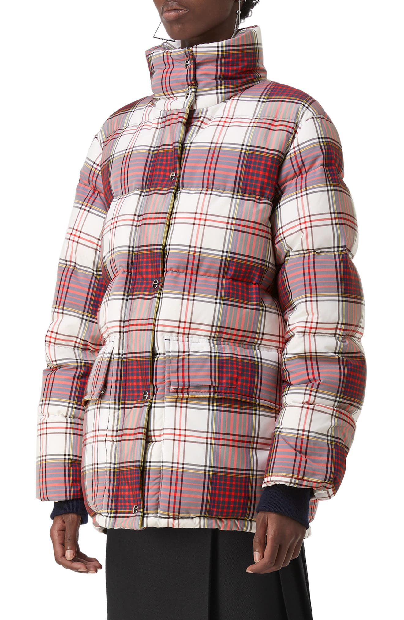 Selsey Check Print Down Coat,                             Alternate thumbnail 3, color,                             OFF WHITE CHK