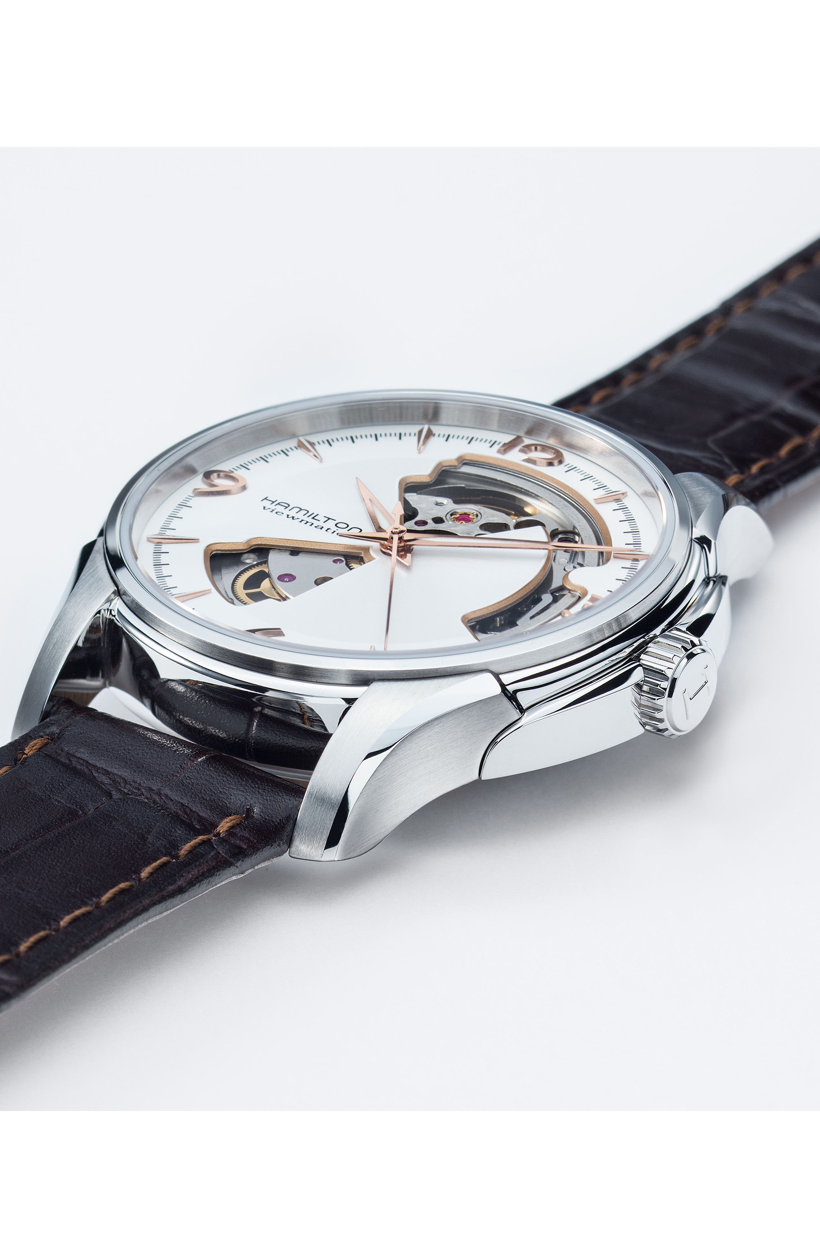 Jazzmaster Open Heart Automatic Leather Strap Watch, 40mm,                             Alternate thumbnail 3, color,                             BROWN/ SILVER