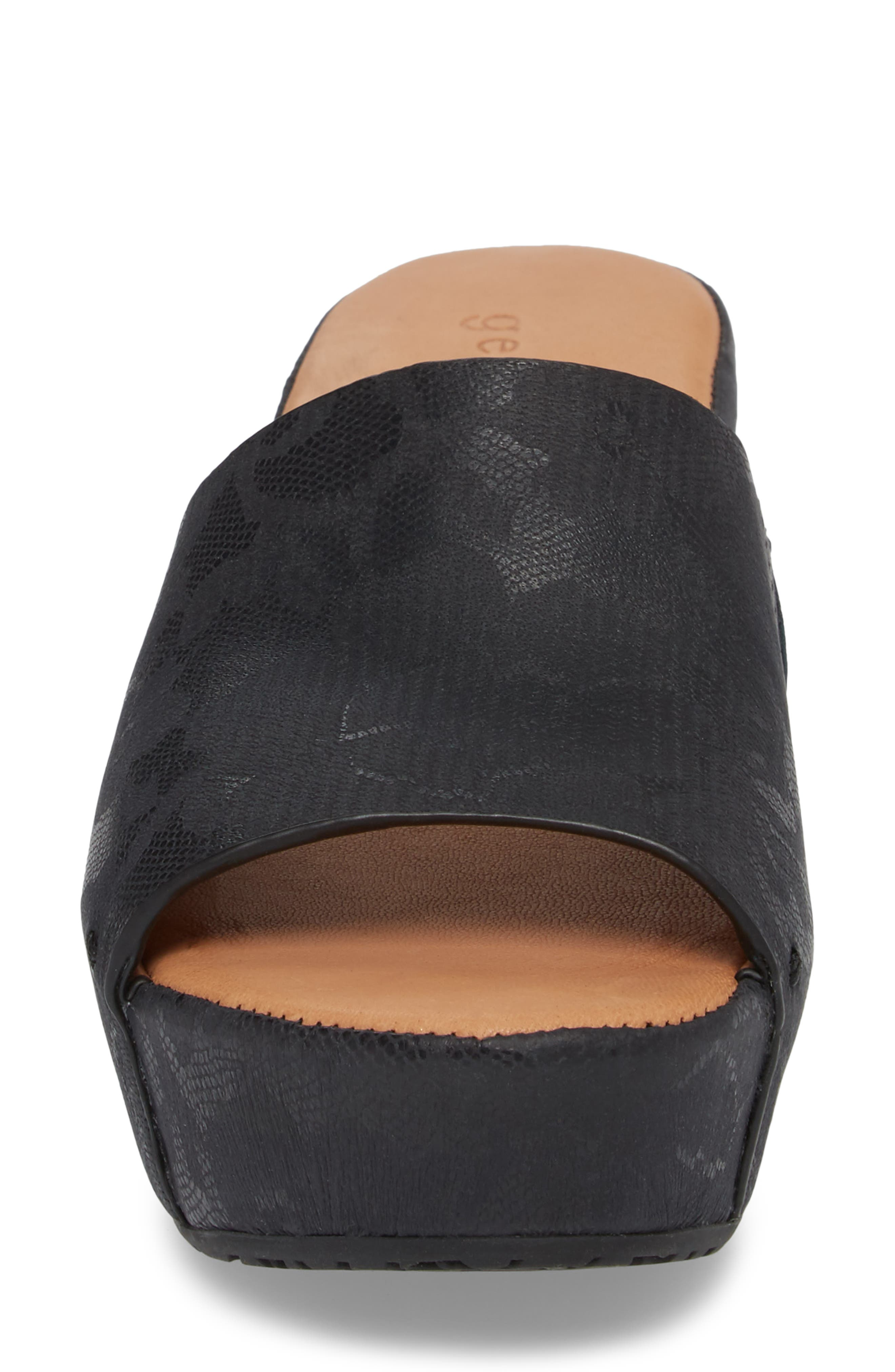 by Kenneth Cole Forella Slide Sandal,                             Alternate thumbnail 4, color,                             BLACK PRINTED LEATHER