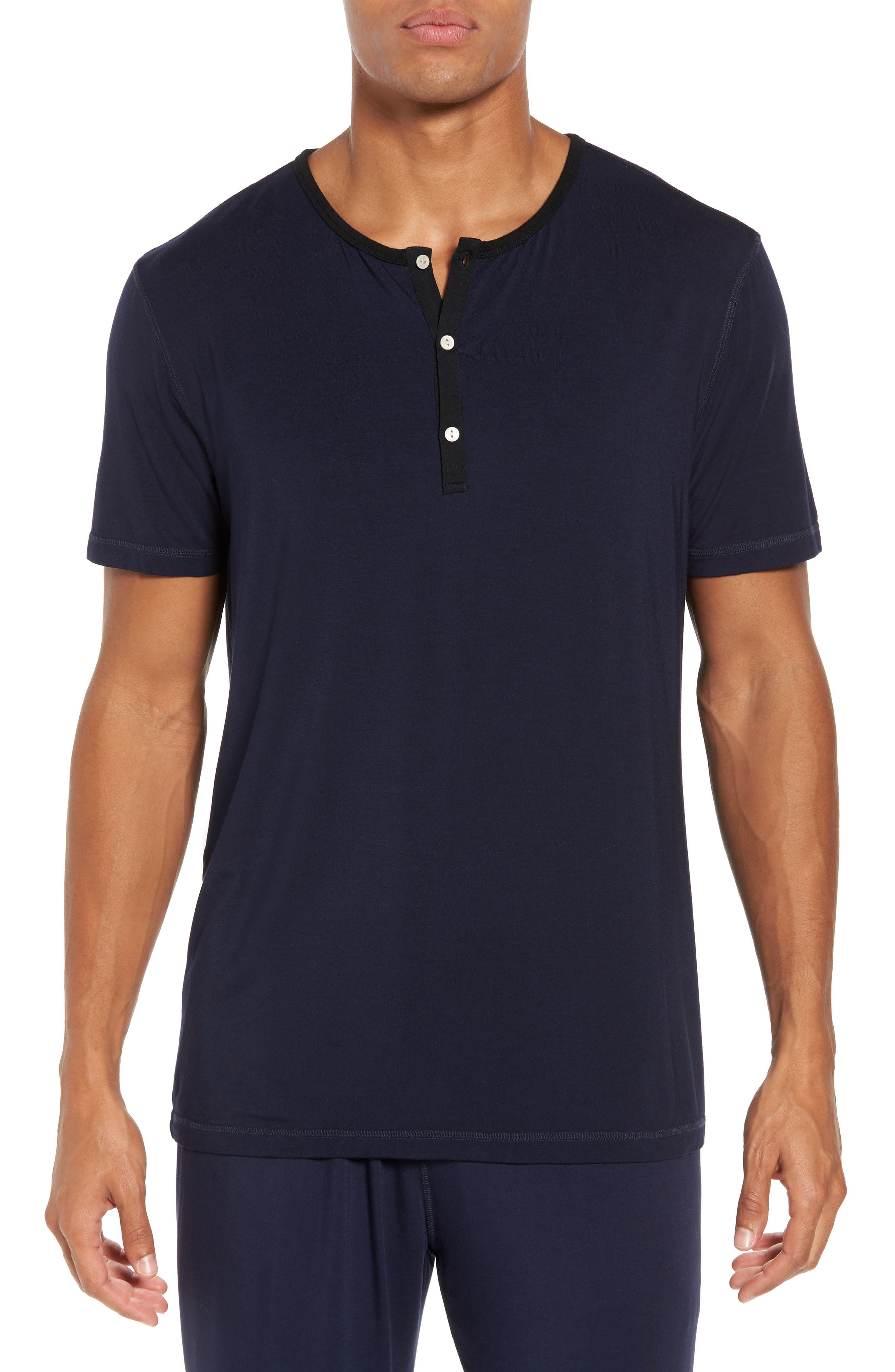 Modal Blend Henley T-shirt,                             Main thumbnail 1, color,                             INK