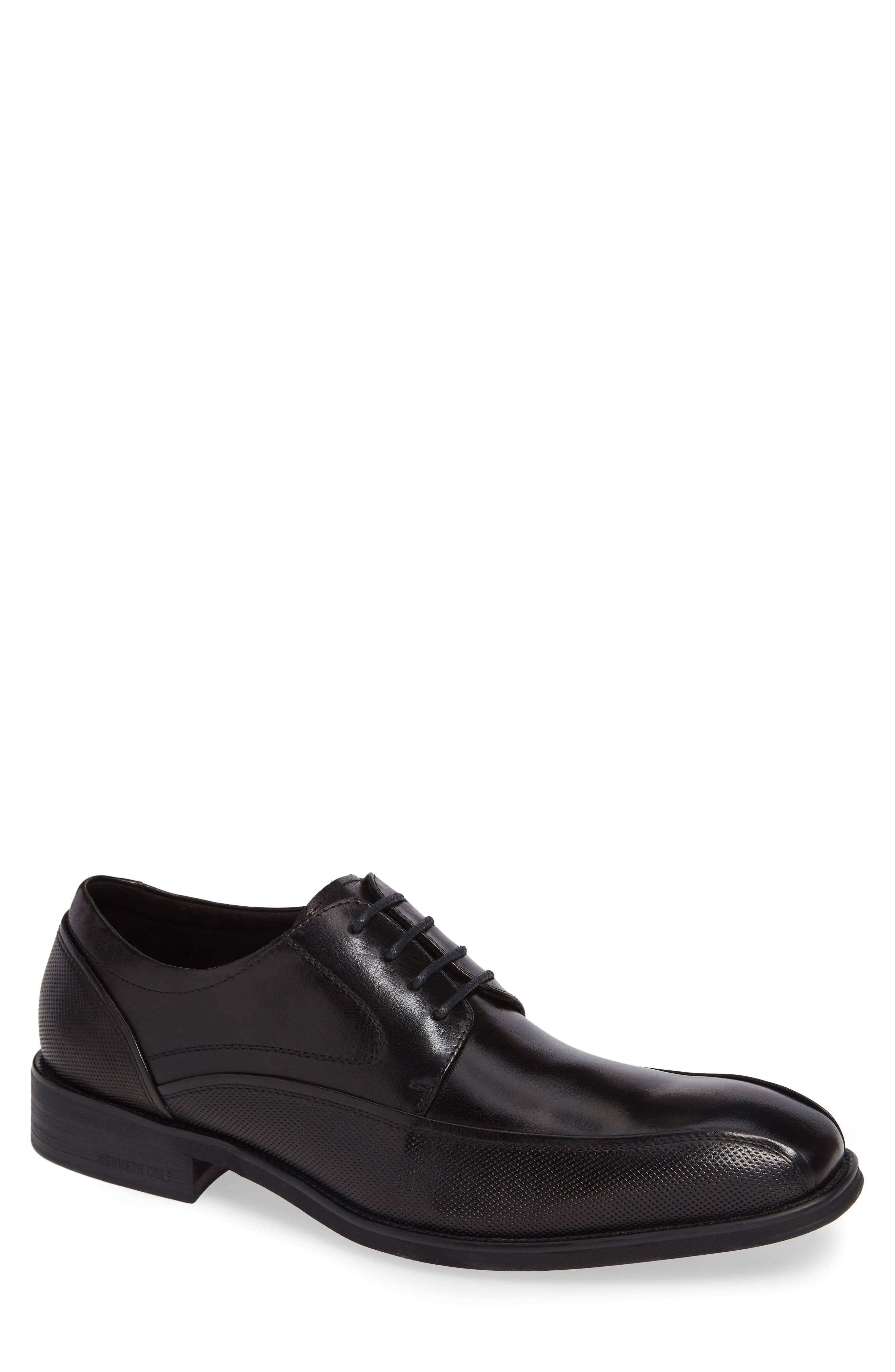 Tyrie Bike Toe Derby,                             Main thumbnail 1, color,                             BLACK LEATHER