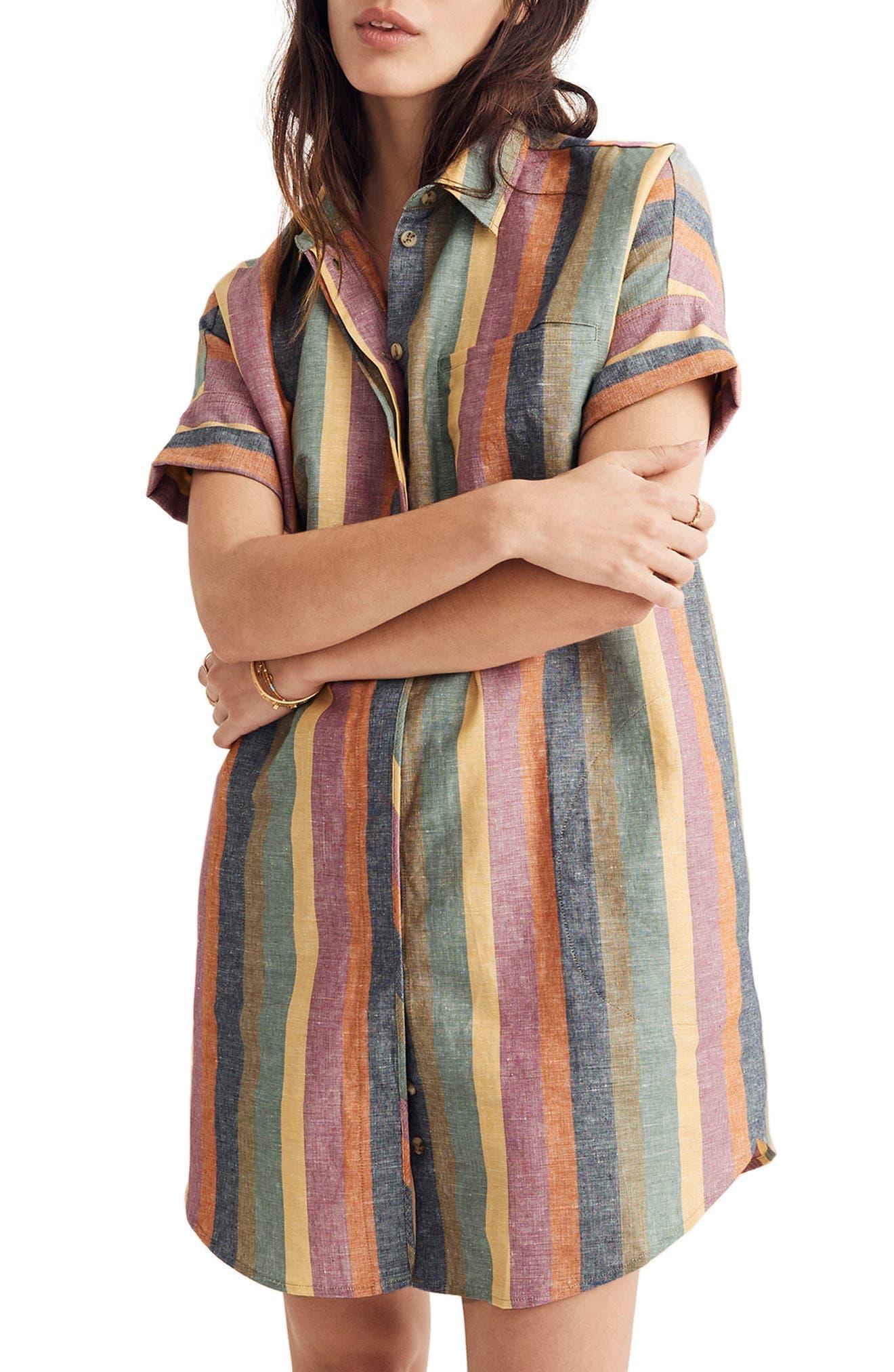 MADEWELL Courier Rainbow Stripe Linen & Cotton Shirtdress, Main, color, 401