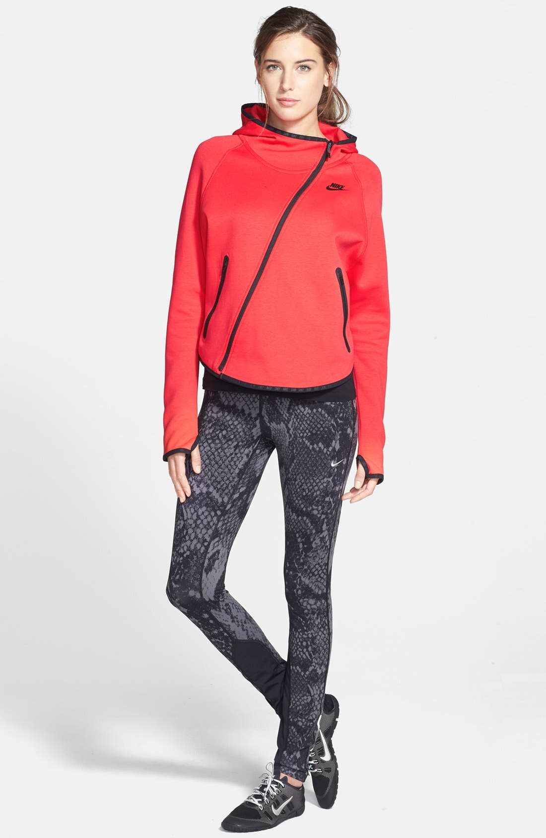 'Epic Lux' Snakeskin Print Running Tights,                             Alternate thumbnail 8, color,
