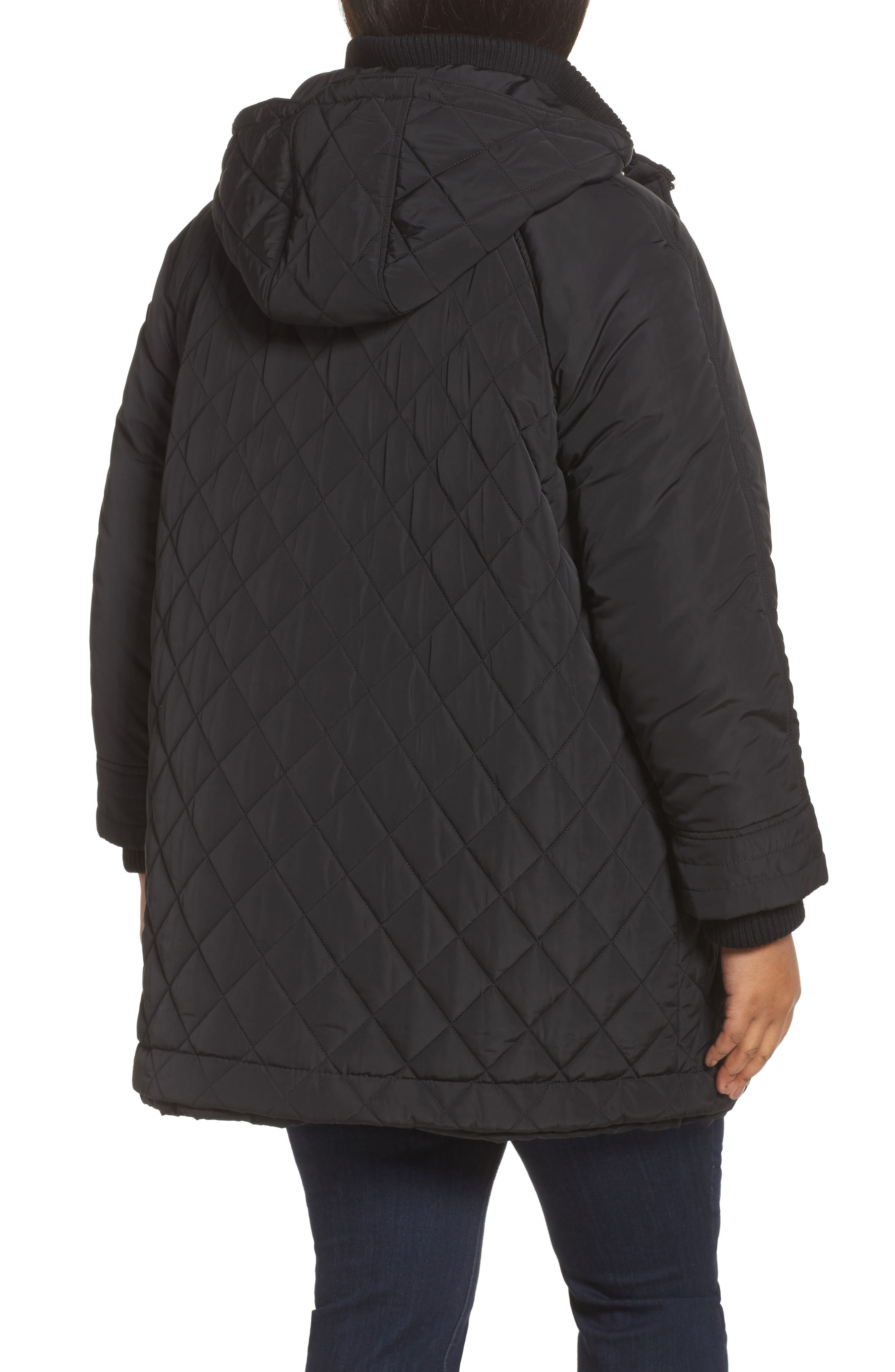 Quilted Hooded Jacket,                             Alternate thumbnail 2, color,                             001