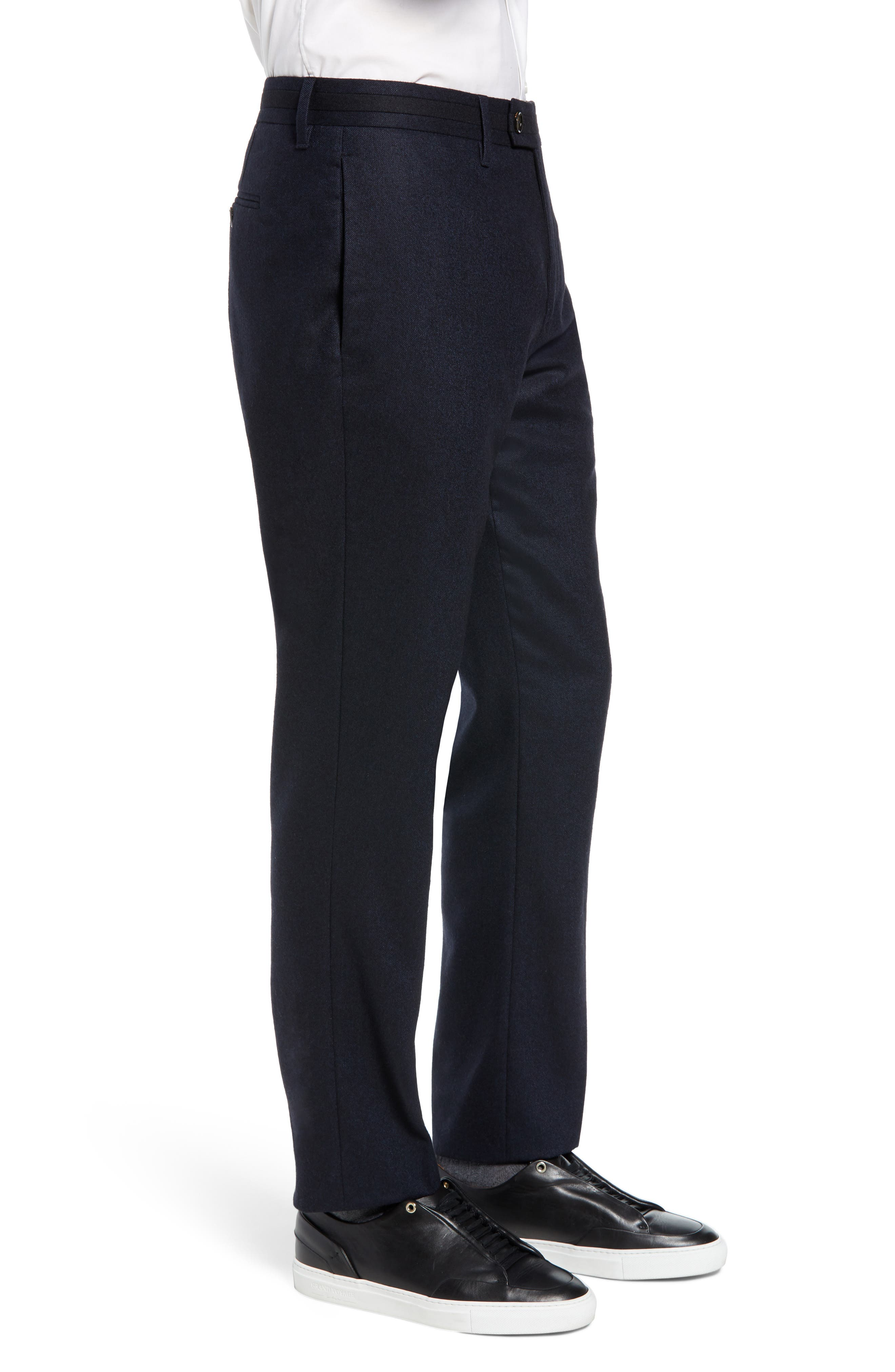 Matztro Trim Fit Wool Blend Trousers,                             Alternate thumbnail 3, color,                             NAVY