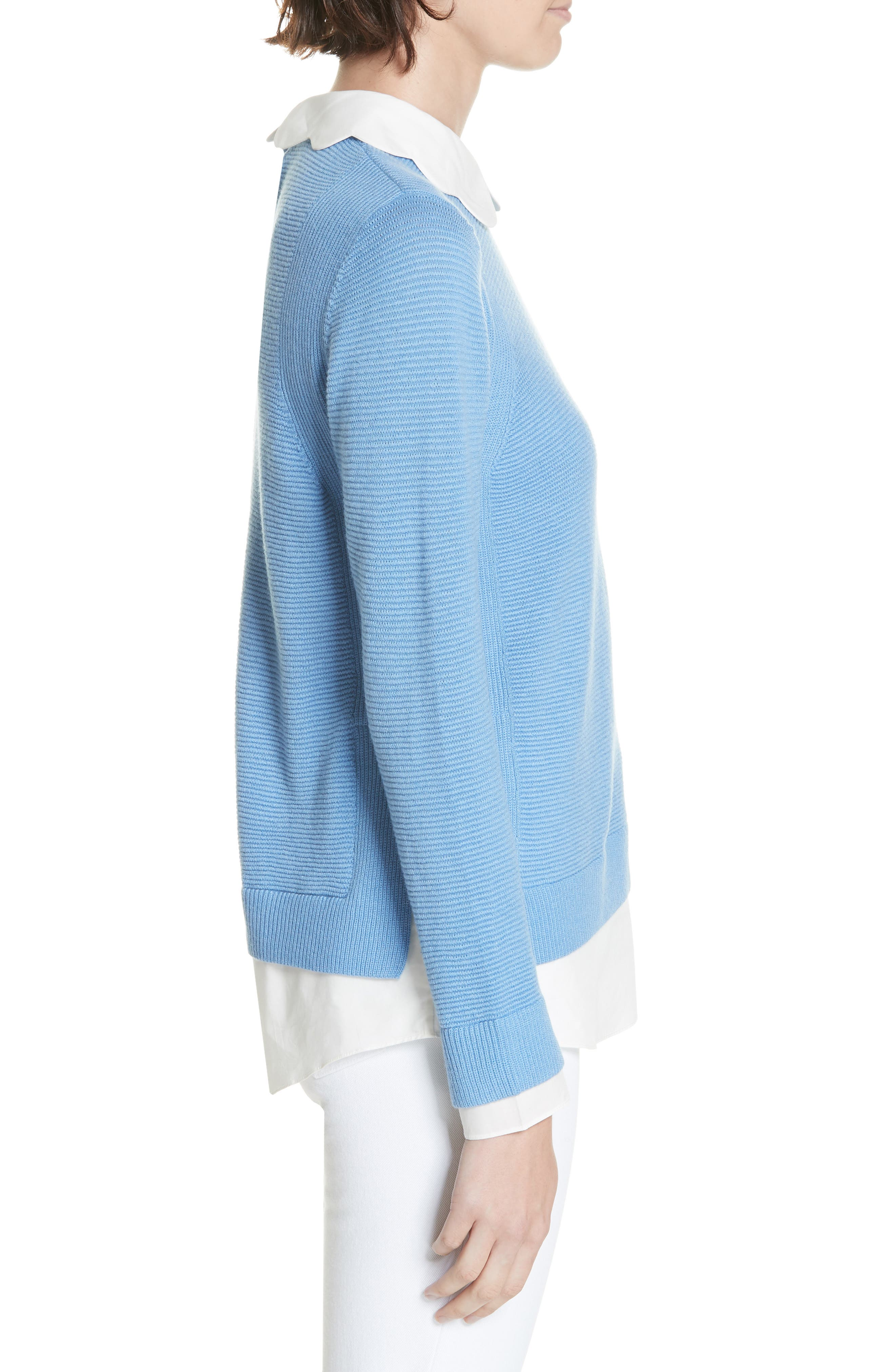 Bronwen Scalloped Collar Sweater,                             Alternate thumbnail 3, color,                             424