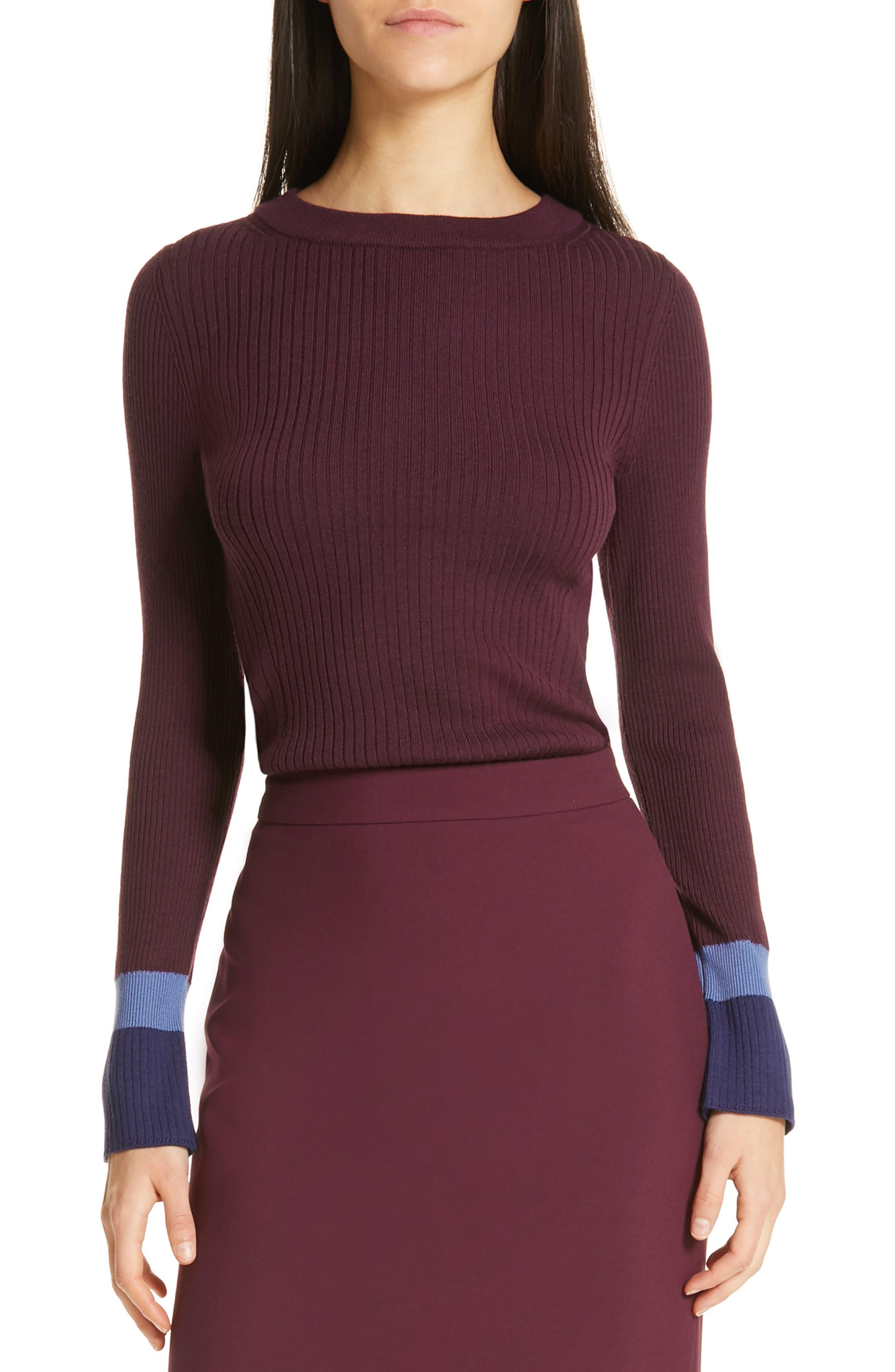 Boss Fadeline Blue Fantasy Ribbed Wool Sweater, Purple