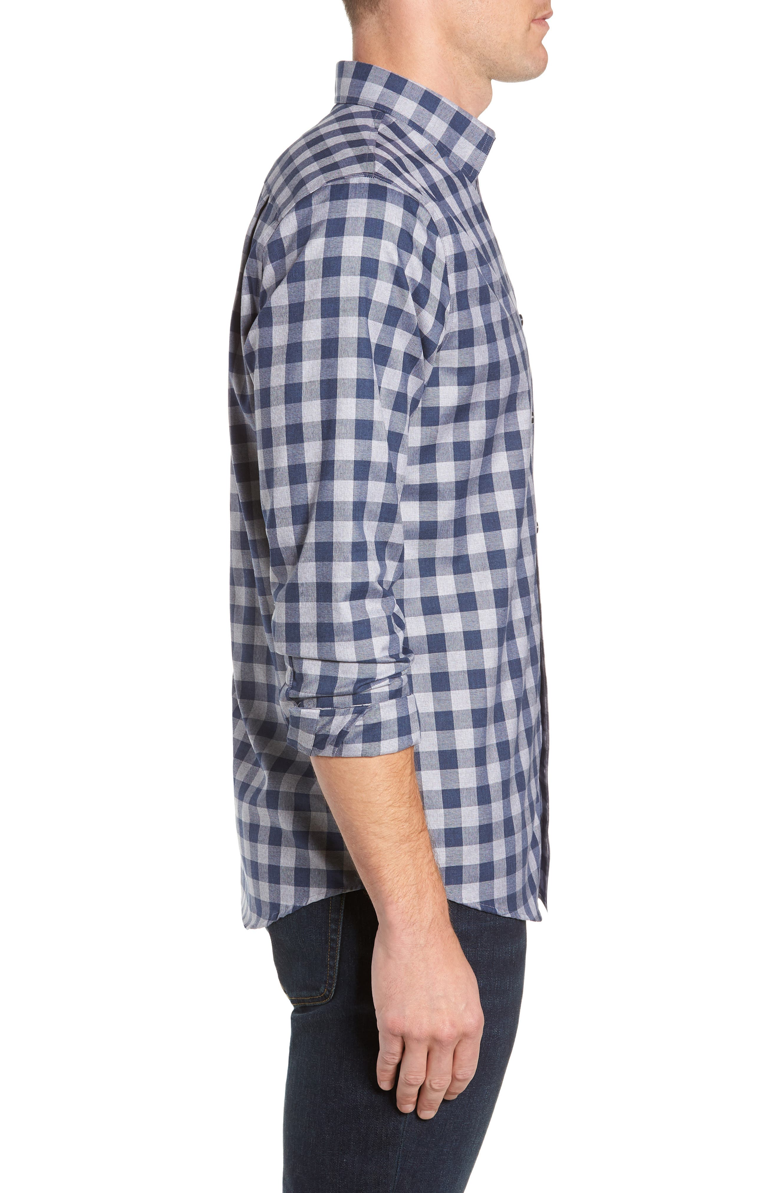 Regular Fit Non-Iron Check Sport Shirt,                             Alternate thumbnail 4, color,                             420