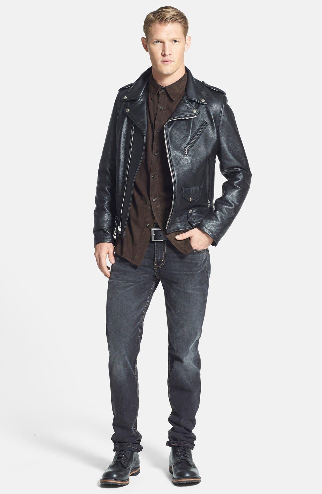 'Chips' Slim Fit Moto Leather Jacket,                             Alternate thumbnail 4, color,                             001