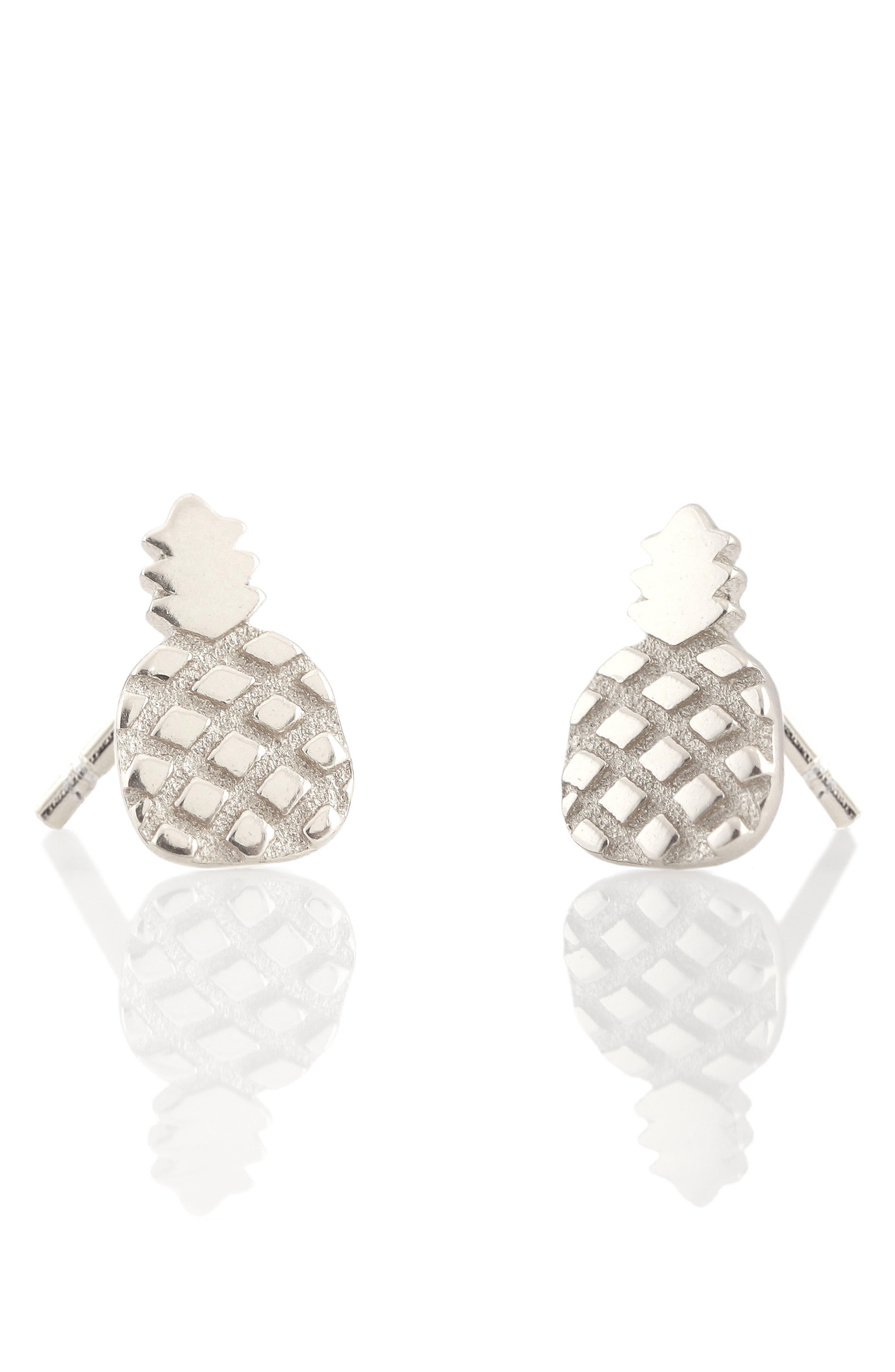 Pineapple Stud Earrings,                             Main thumbnail 1, color,                             SILVER