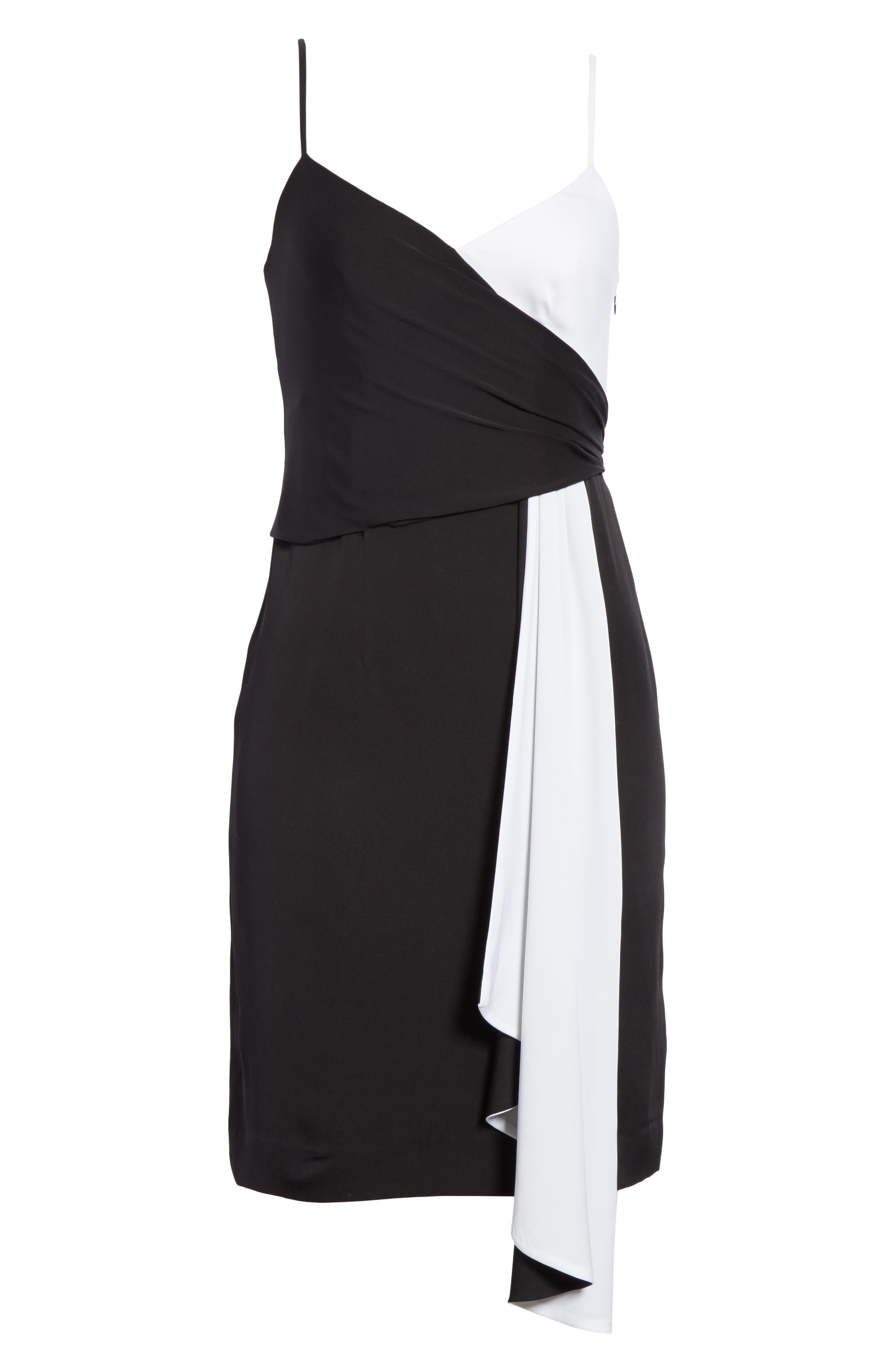 Cindy Two-Tone Stretch Silk Dress,                             Alternate thumbnail 6, color,                             006