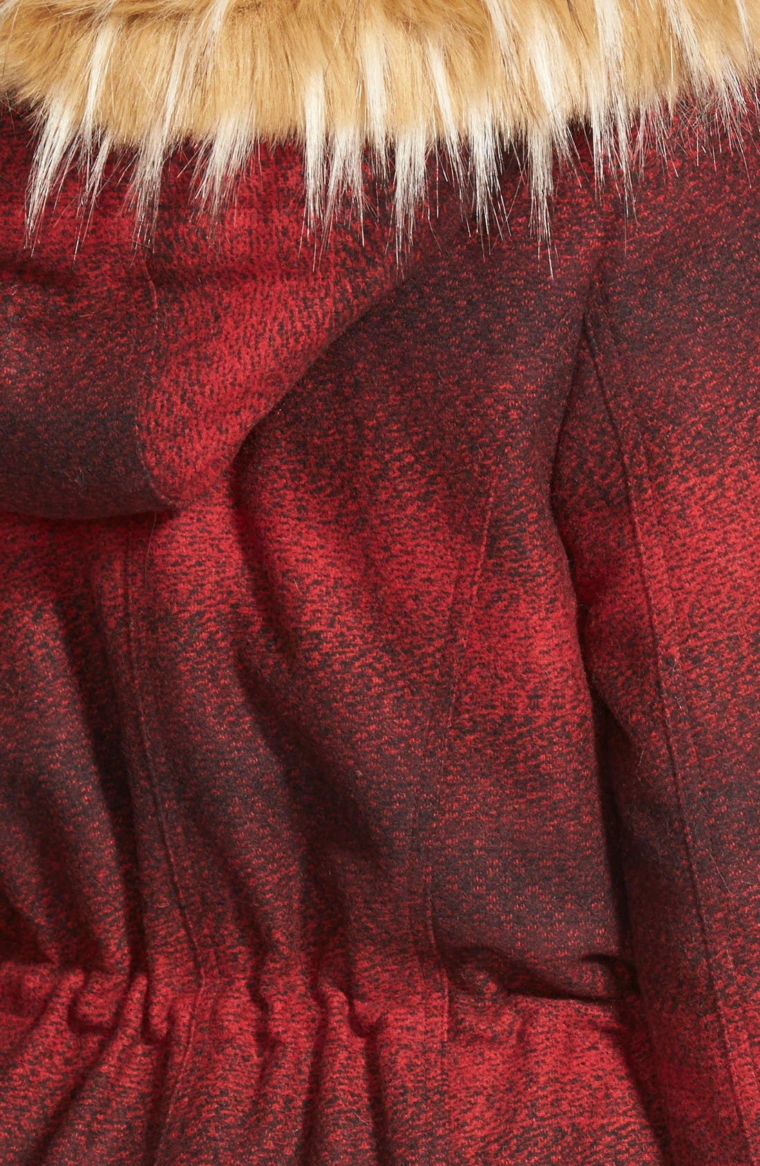 'Red Stripe' Hooded Duffle Coat with Faux Fur Trim,                             Alternate thumbnail 3, color,                             600