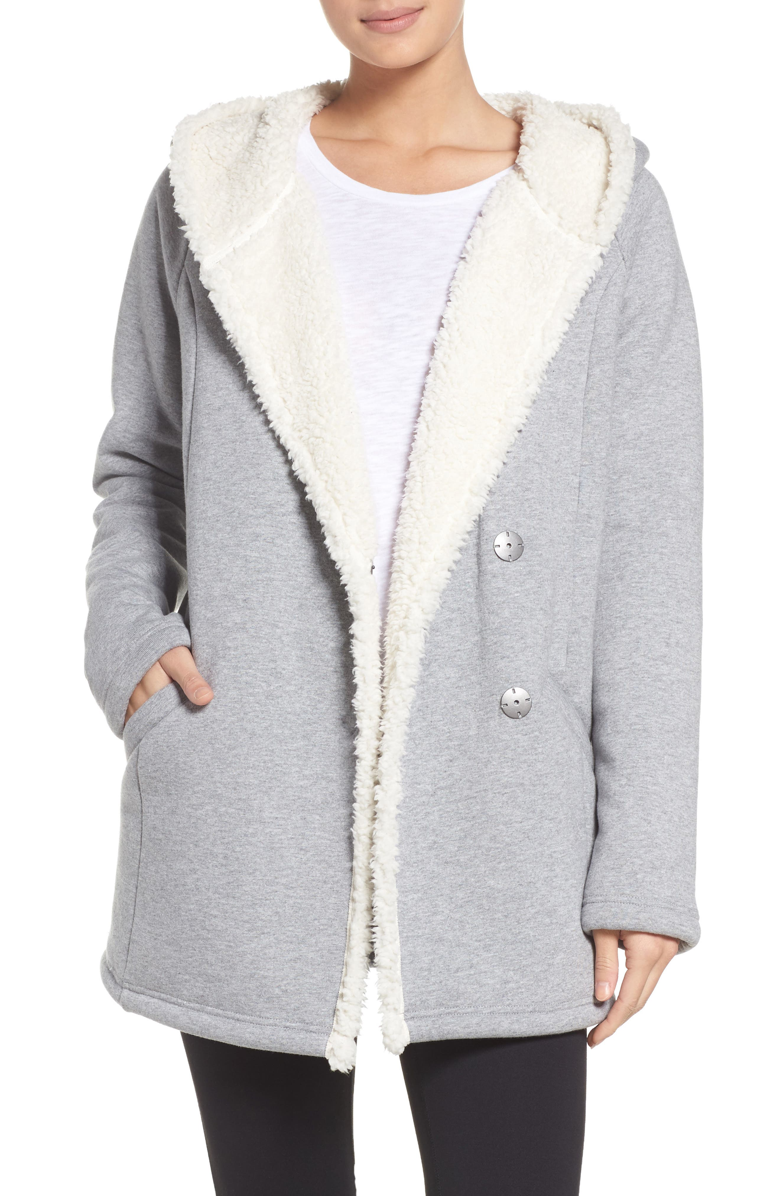 Chalet Fleece Lined Hooded Wrap,                             Main thumbnail 1, color,                             030