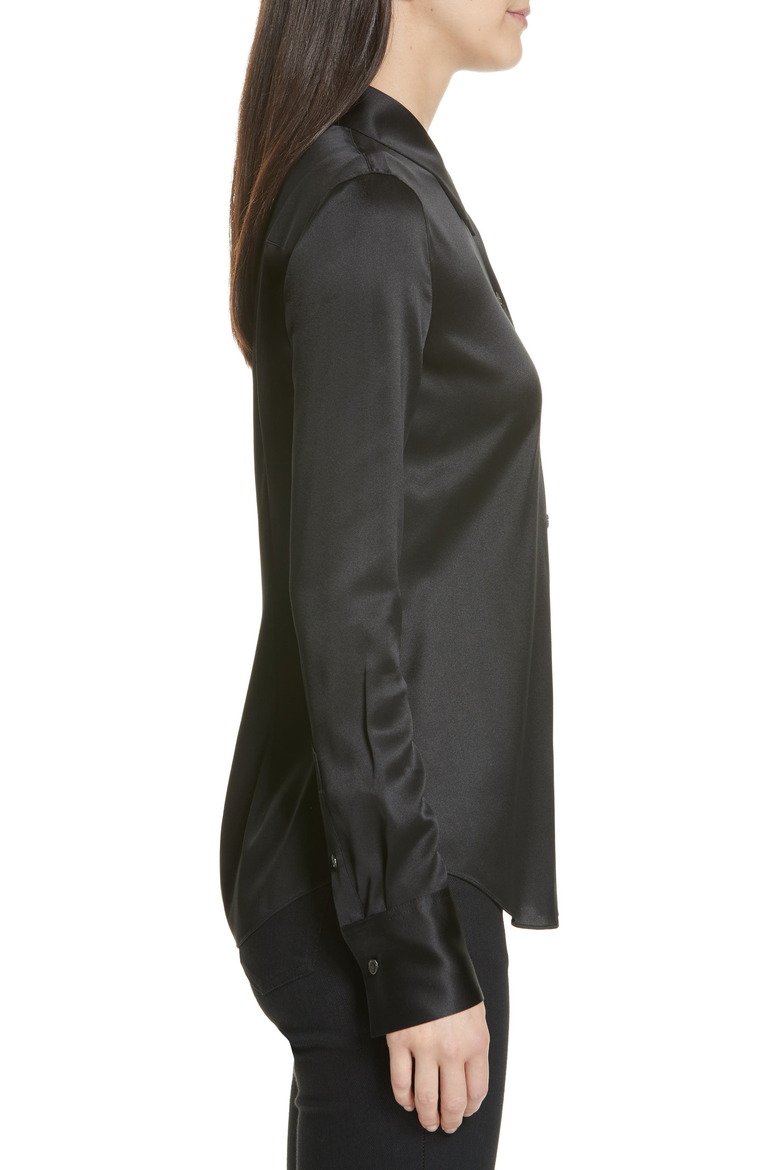 Perfect Fit Stretch Silk Blouse,                             Alternate thumbnail 3, color,                             BLACK