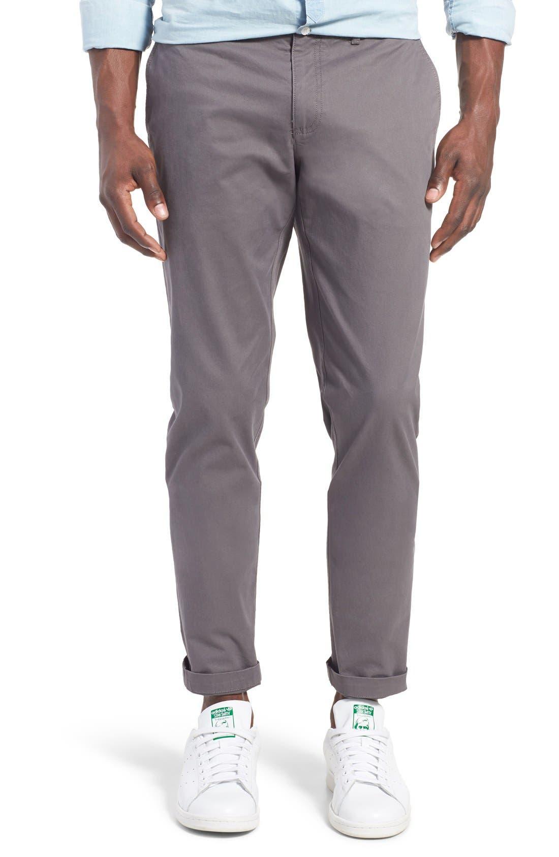 'P55' Slim Fit Stretch Cotton Chinos,                             Main thumbnail 1, color,                             CASTLEROCK