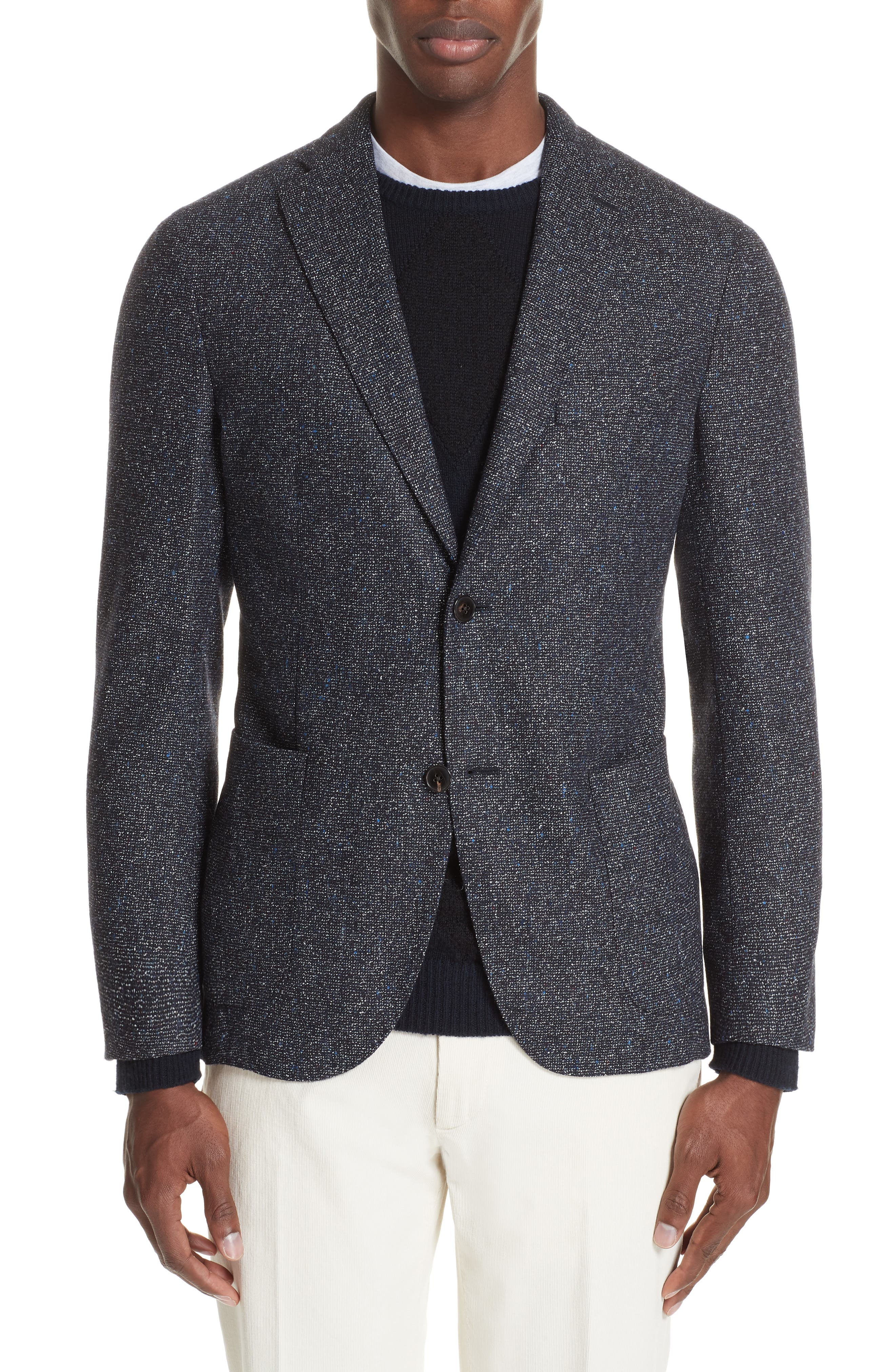 Trim Fit Tweed Wool Blend Blazer,                             Main thumbnail 1, color,                             NAVY