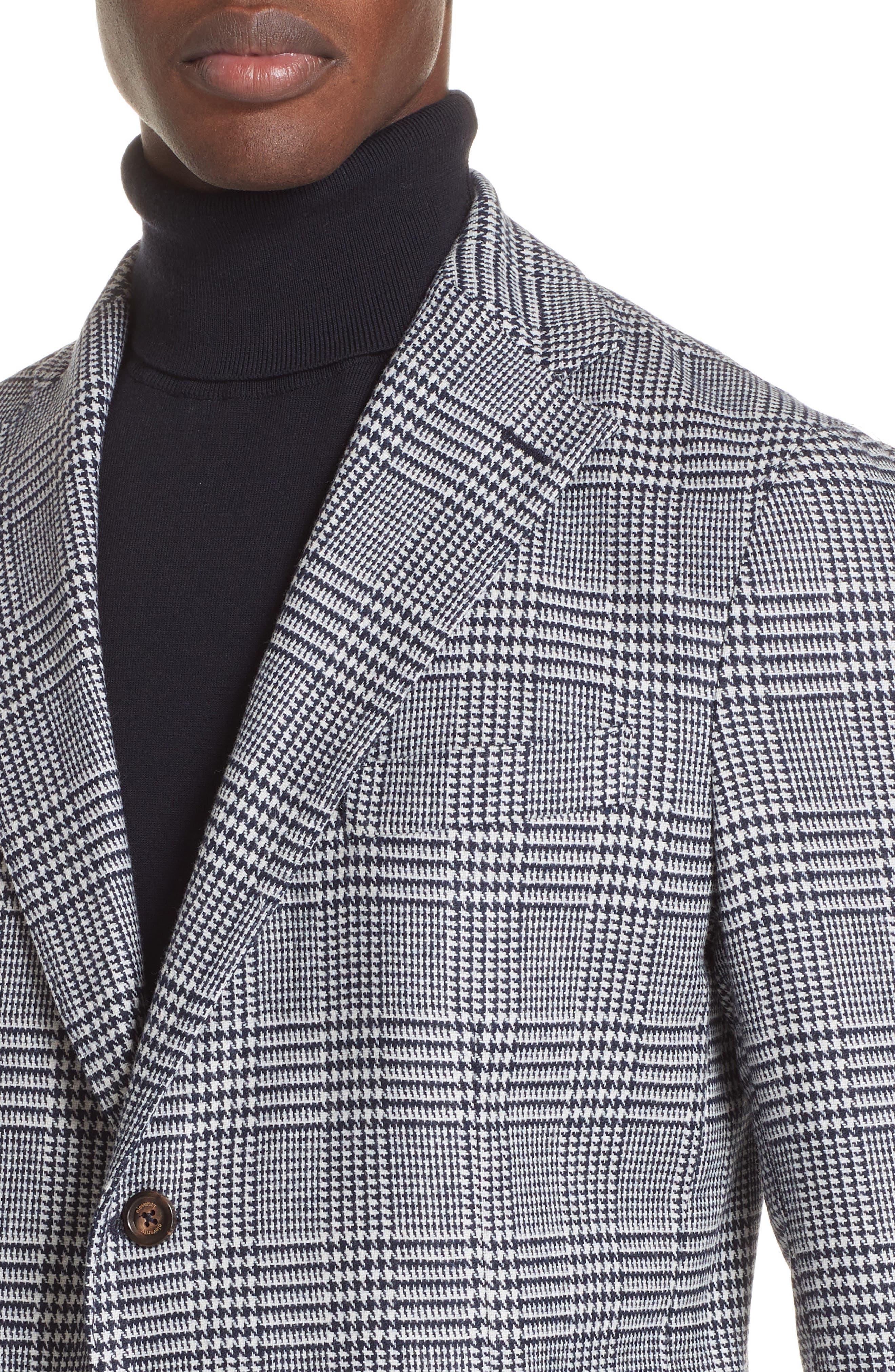 Trim Fit Plaid Stretch Wool Blend Sport Coat,                             Alternate thumbnail 4, color,                             NAVY
